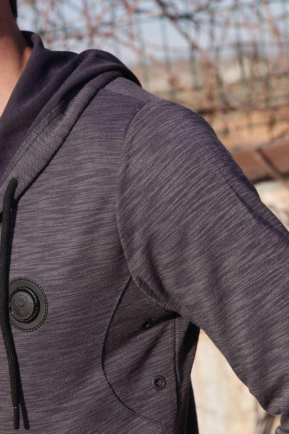 Süs Düğmeli Kapşonlu Sweatshirt Füme