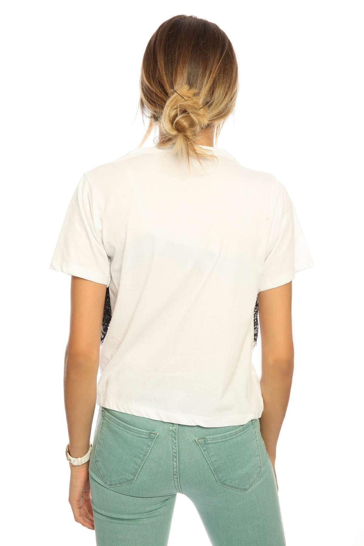 Straplez Dantel Detaylı Kısa Kol Body Beyaz