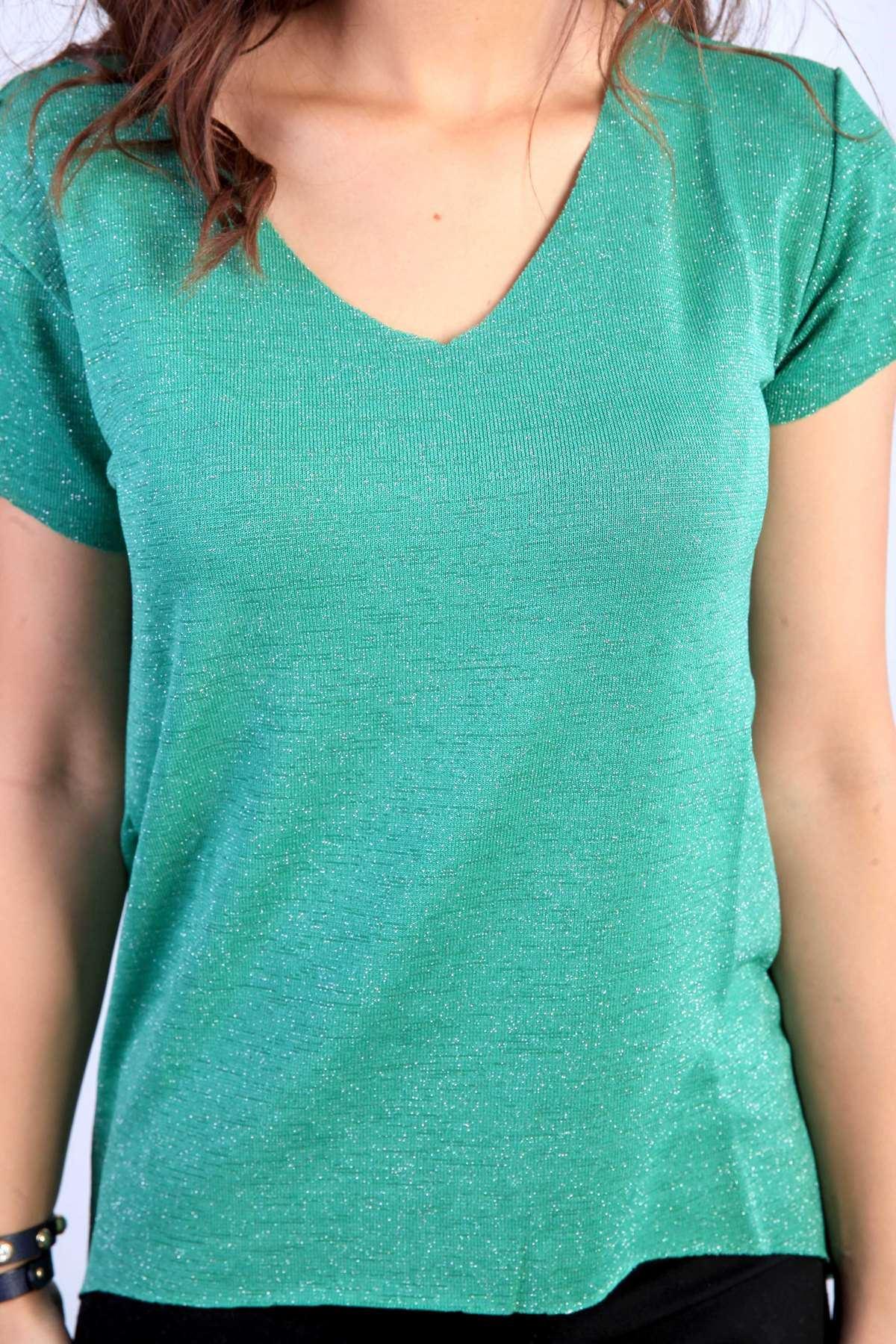 Sim Detaylı Yaka Kol Dikişsiz V Yaka Kısa Kol Bluz Yeşil