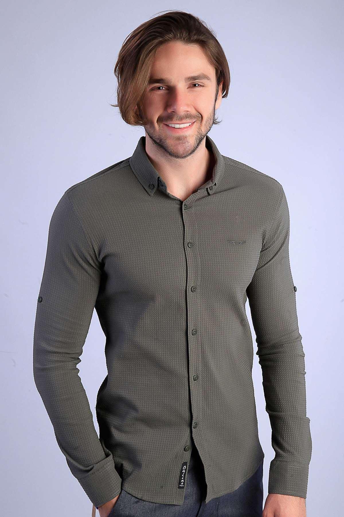 Slim Fit Gofre Kumaş Likralı Gömlek Haki