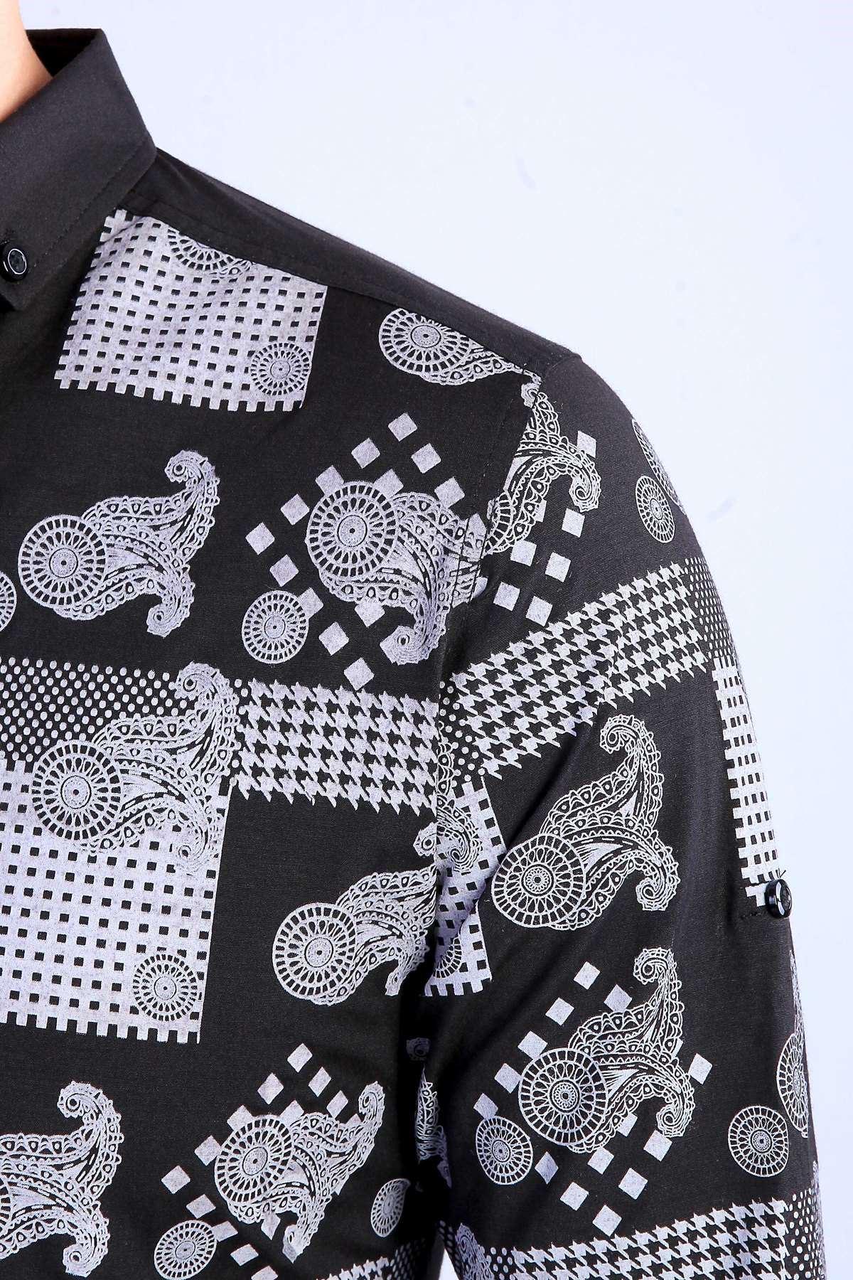 Şal Desen Baskılı Klasik Yaka Slim Fit Gömlek Siyah