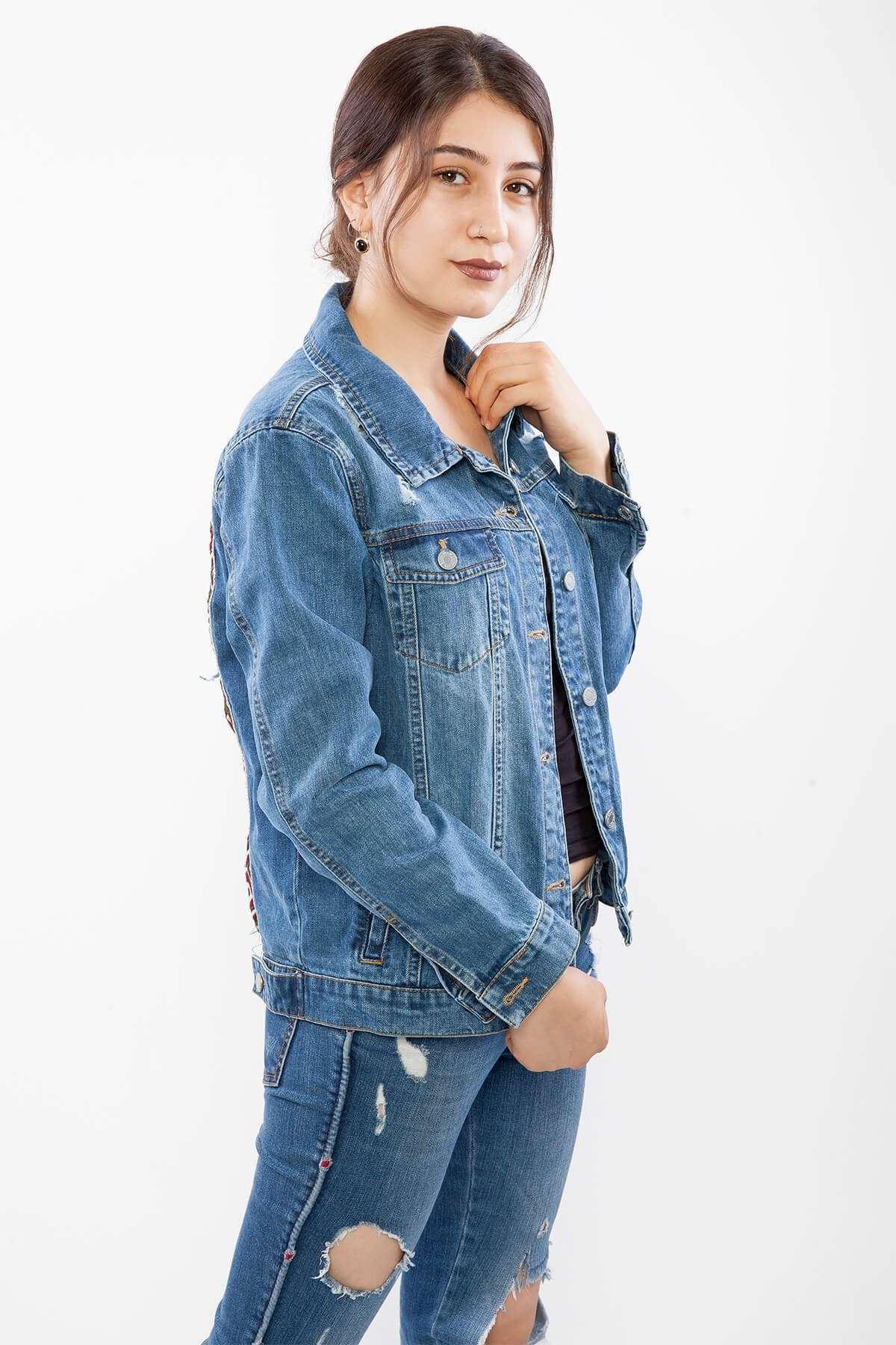 Sırt Yıldız Ponpon Detaylı Yırtıklı Kot Ceket Mavi
