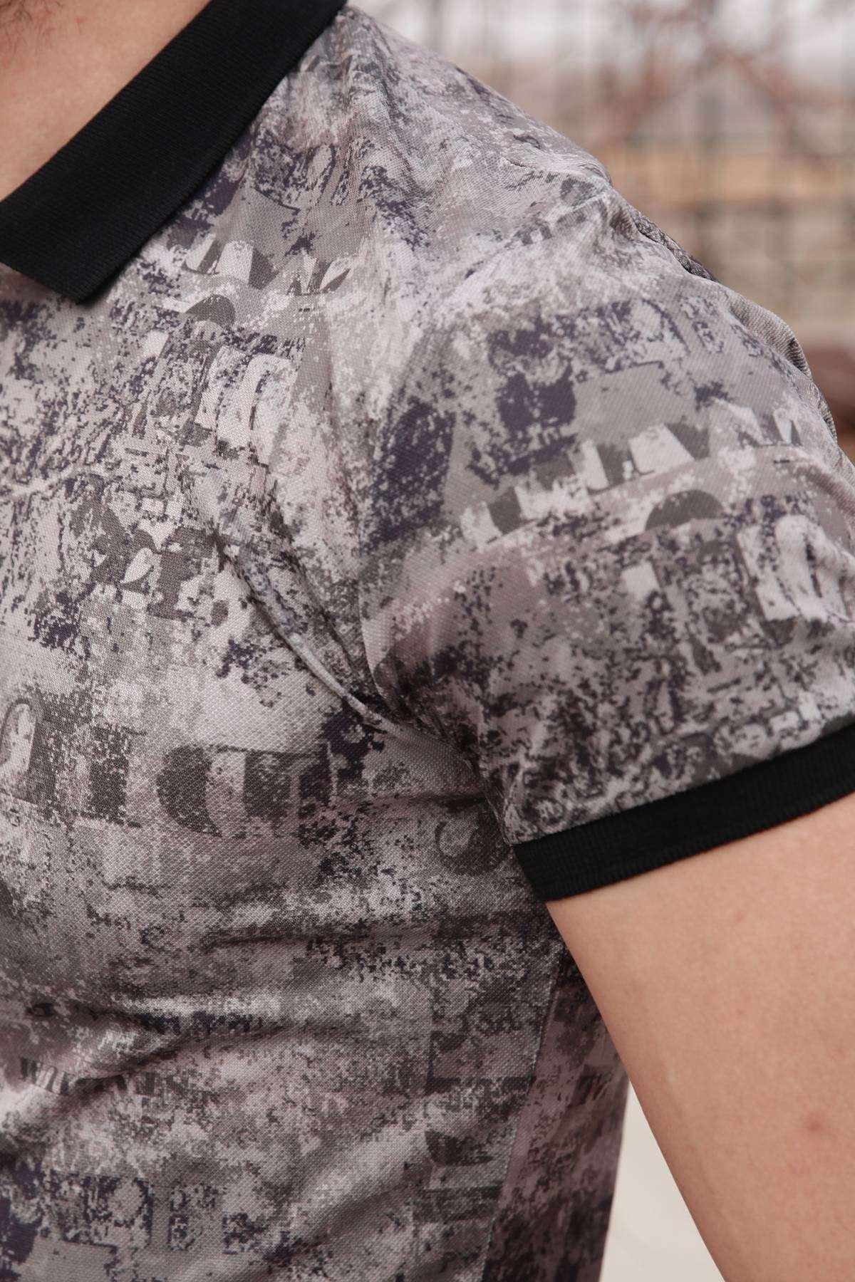 Silme Yazı Baskı Desenli Polo Yaka Tişört Haki