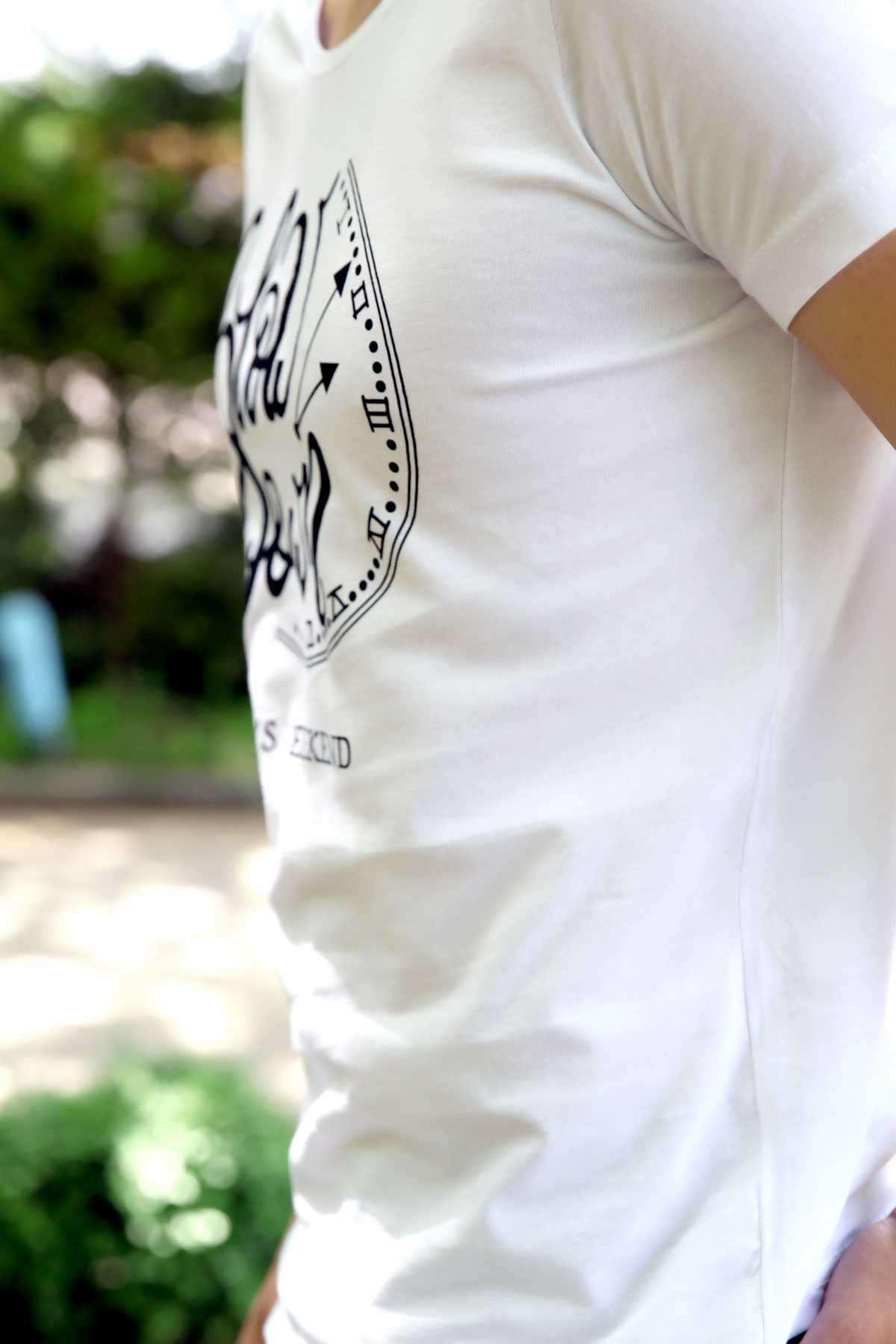 Slow Down Yazılı Saat Baskılı Slim Fit Tişört Beyaz