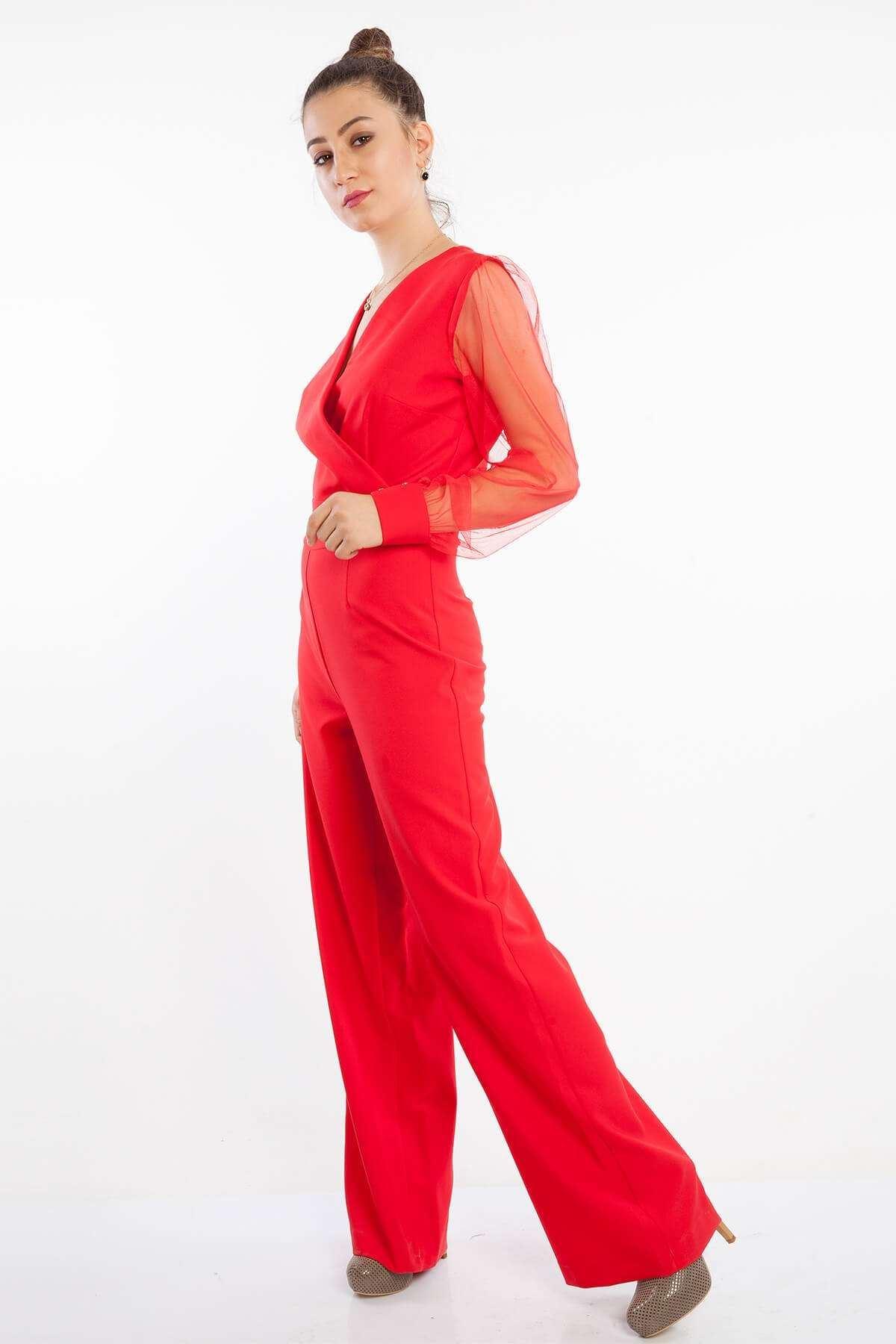 Sırtı Fermuarlı Kolu Tül Tulum Kırmızı