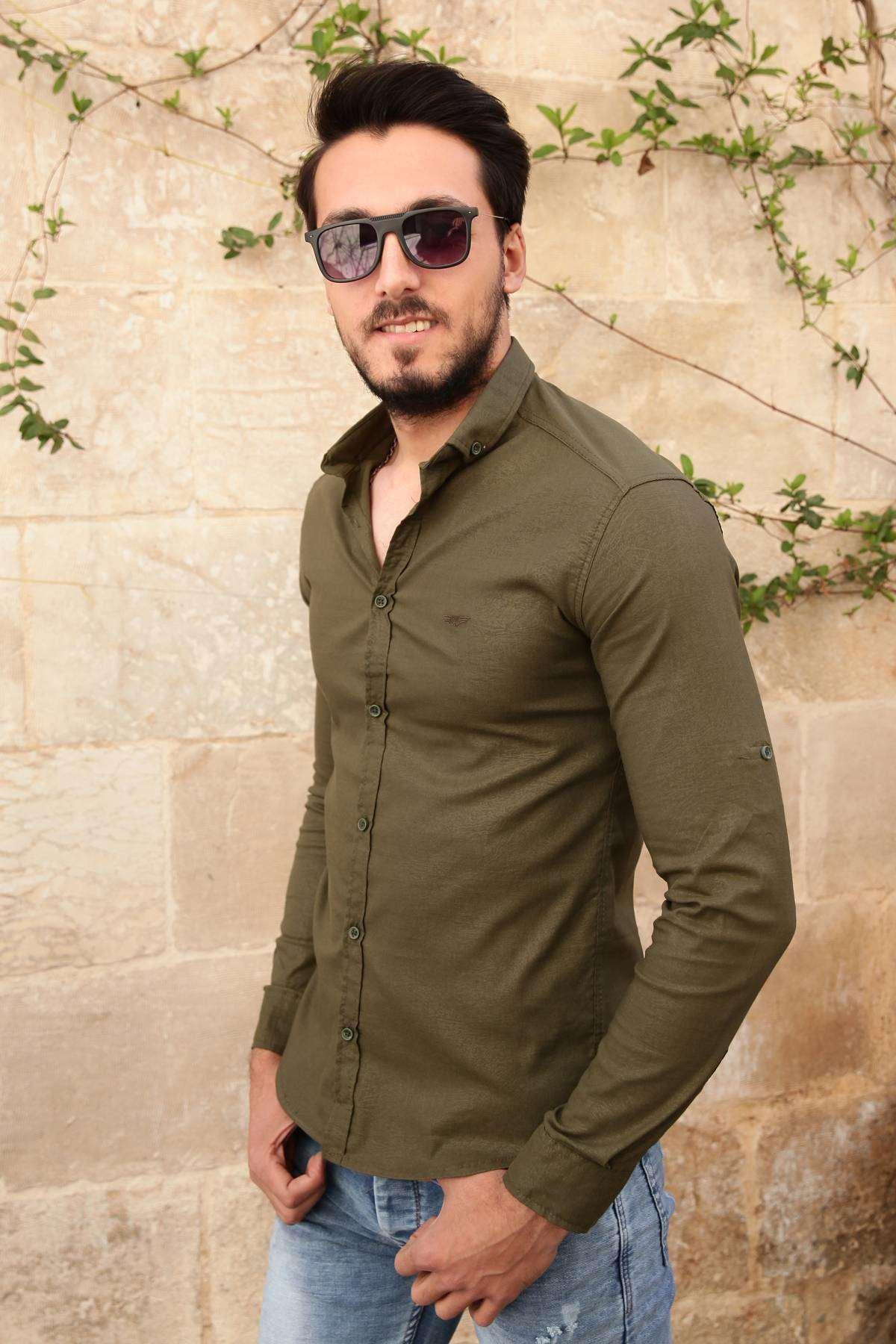 Soğuk Baskı Desenli Uzun Kol Slim Fit Gömlek Haki
