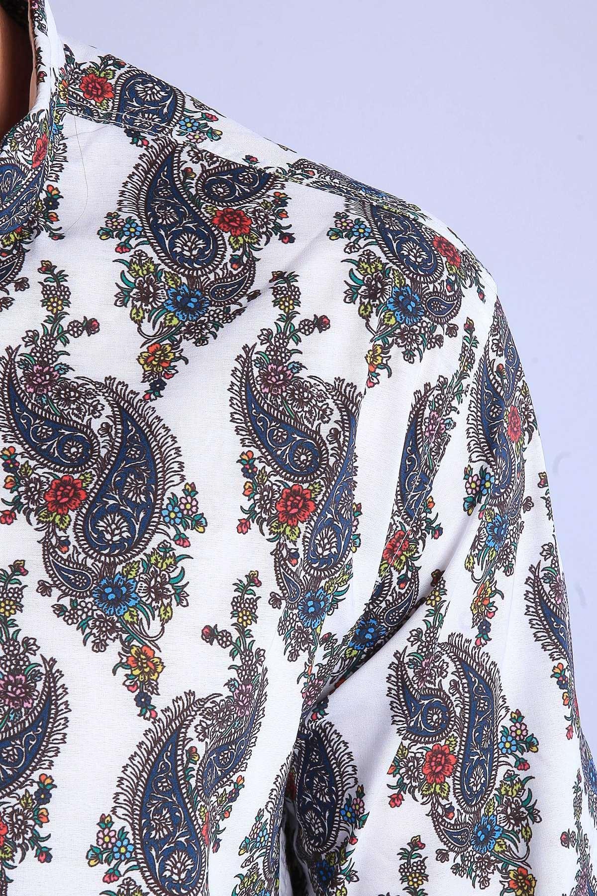 Şal Desenli Klasik Yaka Slim Fit Gömlek Beyaz
