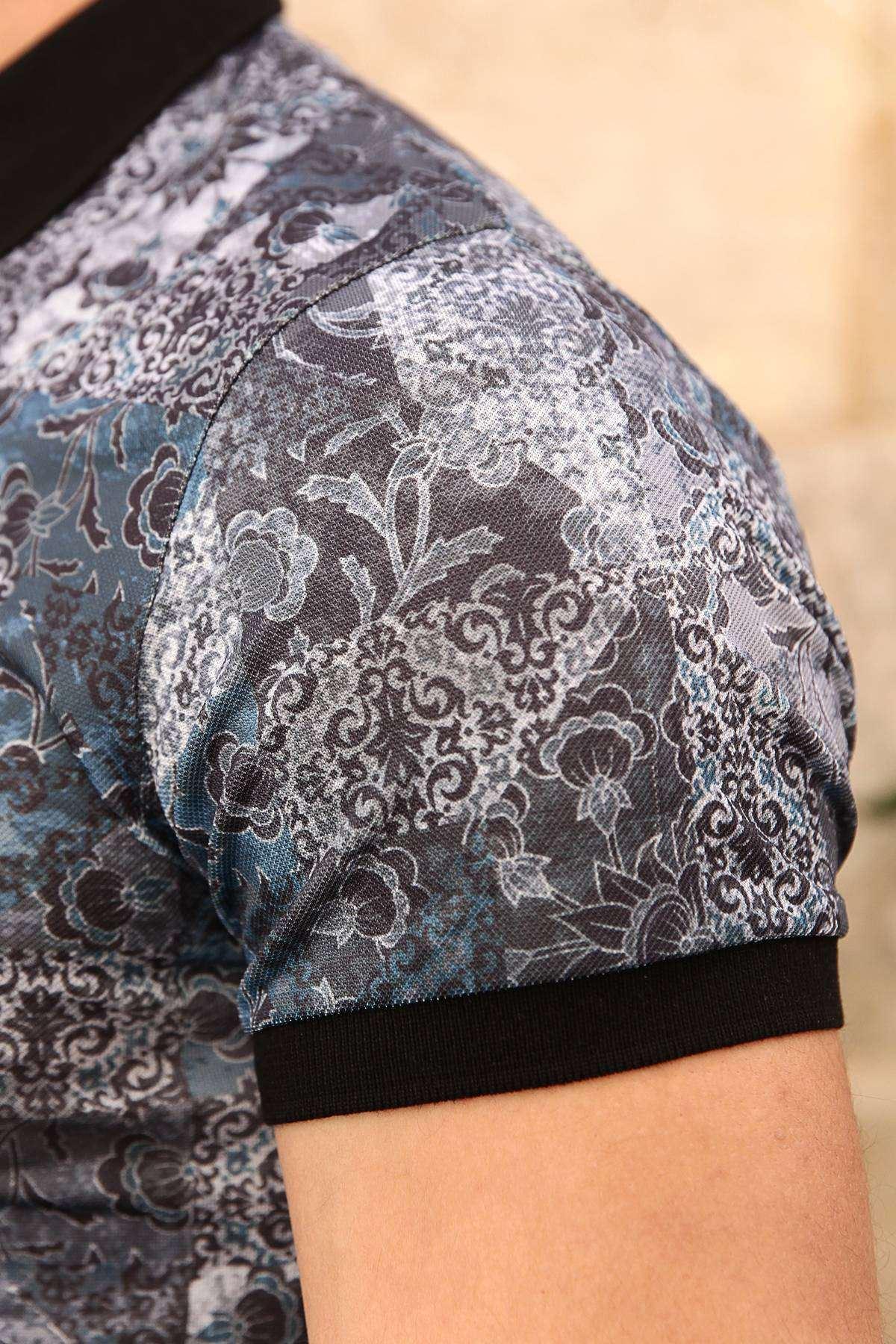Şal Desen Baskılı Dijital Polo Yaka Slim Fit Tişört Mavi