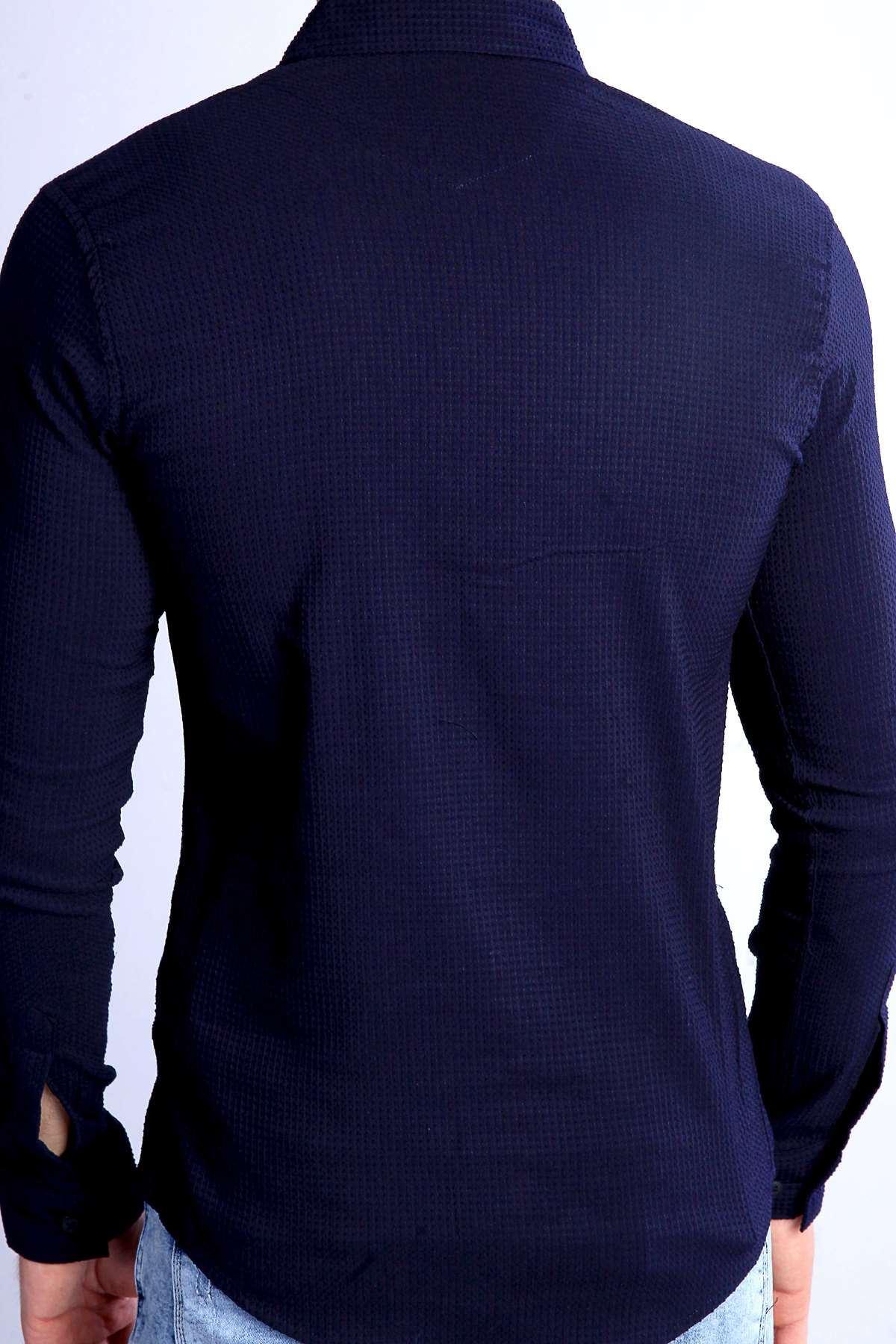 Slim Fit Gofre Kumaş Likralı Gömlek Lacivert
