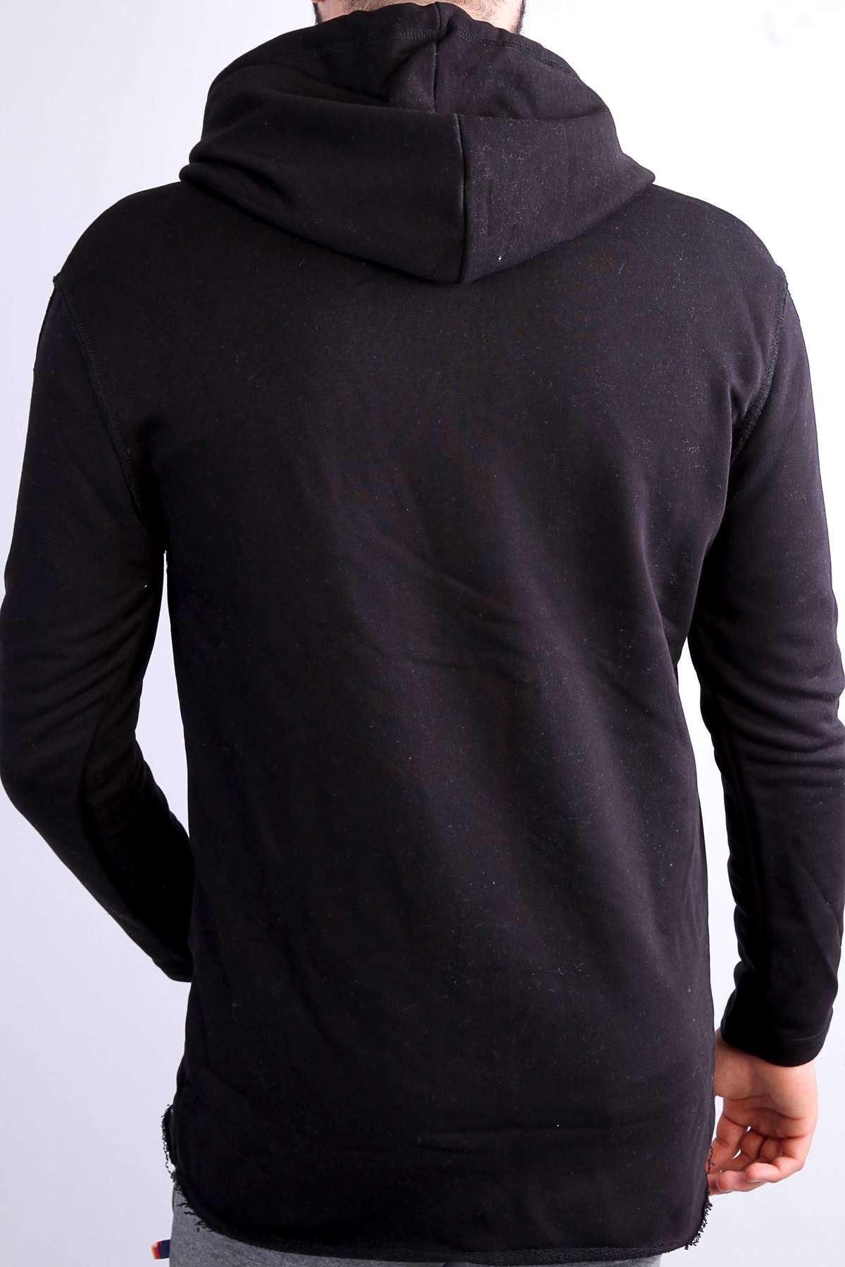 Sweatshirt Fermuarlı Cepli Kapşonlu Panço Siyah