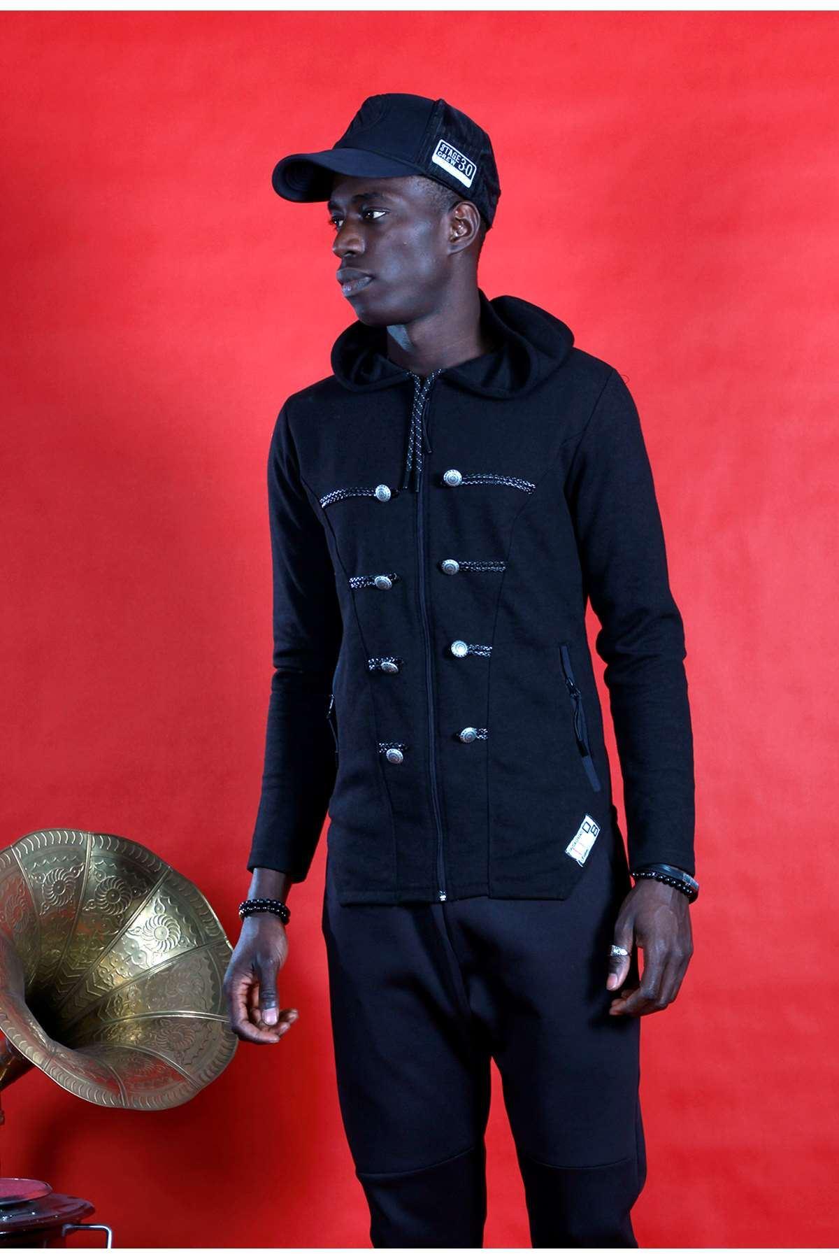 Süs Düğmeli Deri İpli Kapşonlu Sweatshirt Siyah