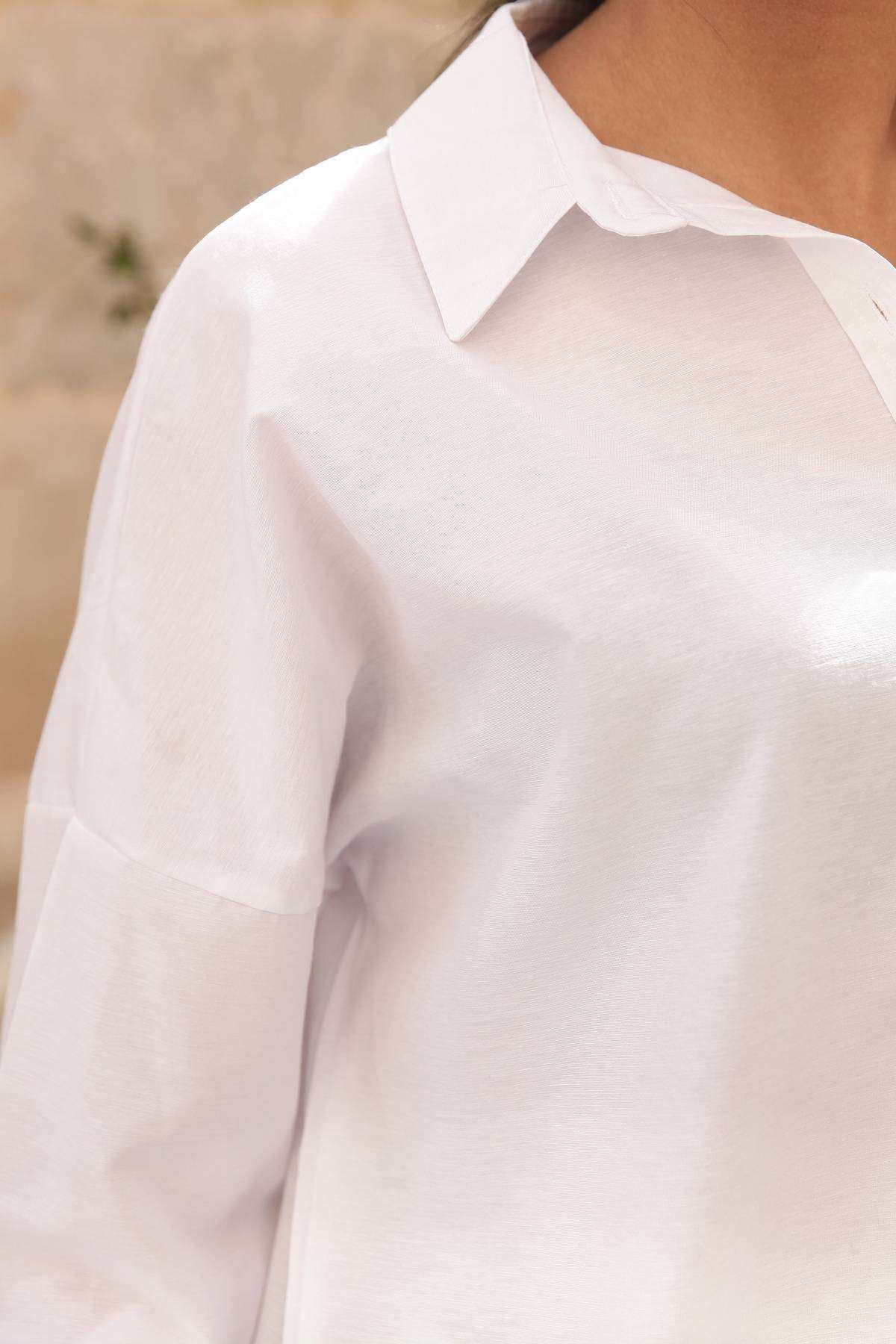 Sırtı Kabartma Normal Yazı Detaylı Gömlek Beyaz