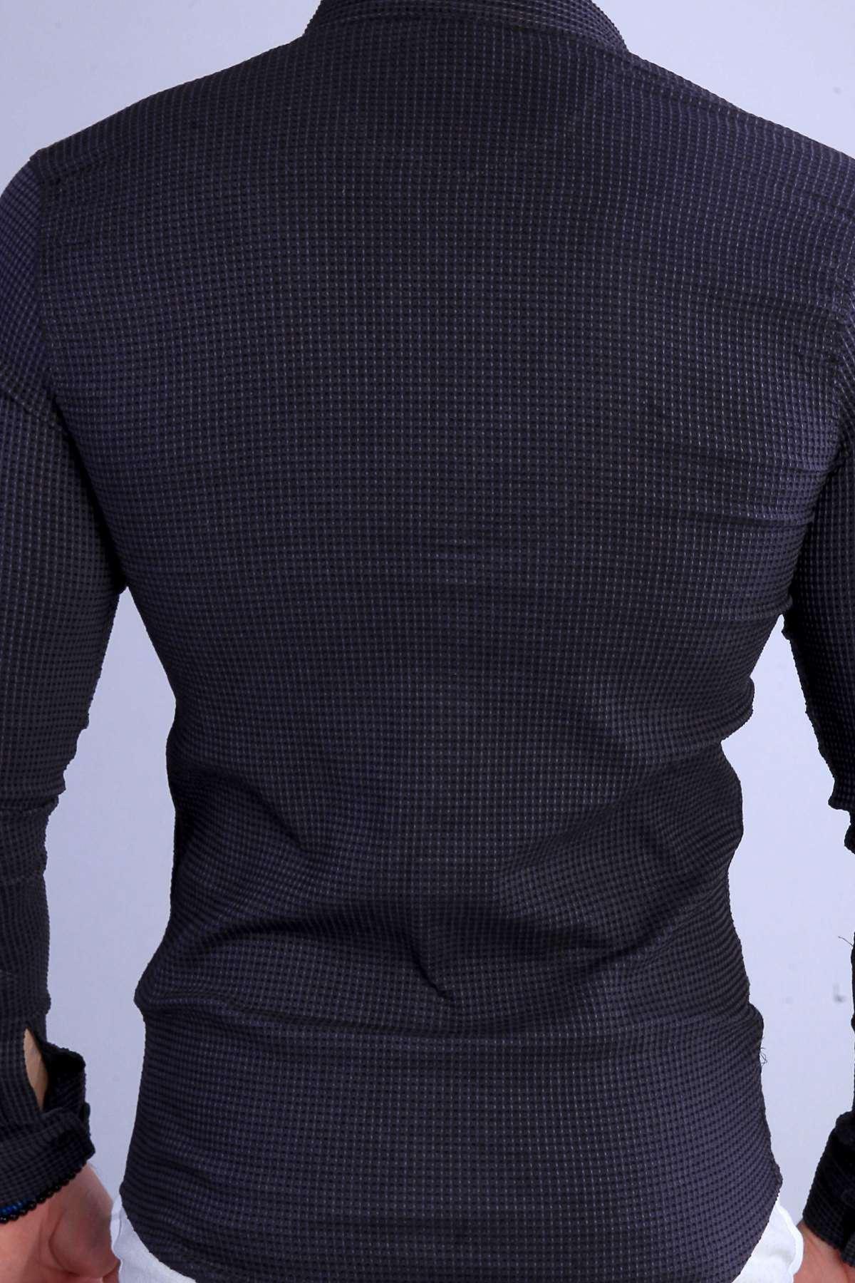 Slim Fit Gofre Kumaş Likralı Gömlek Antrasit
