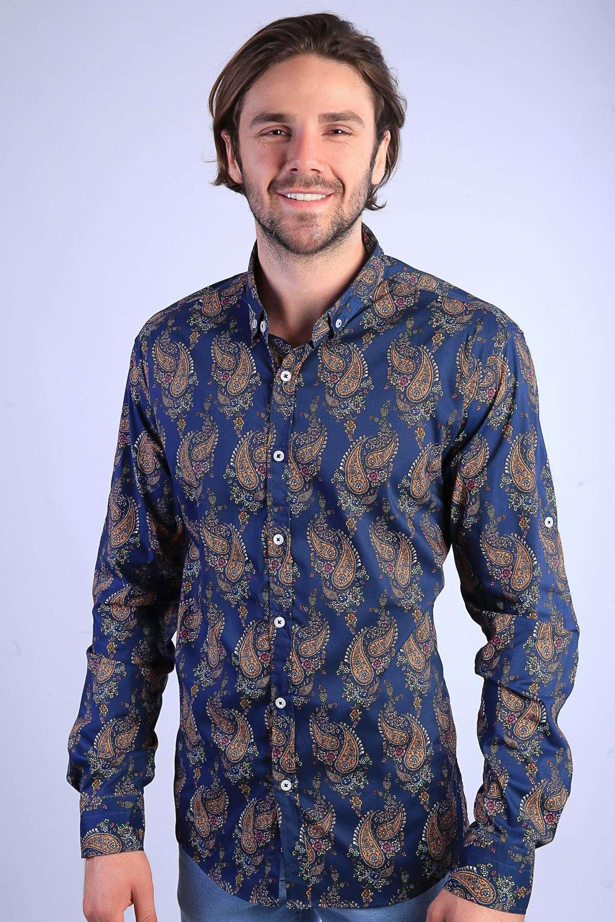 Şal Desenli Klasik Yaka Slim Fit Gömlek Lacivert