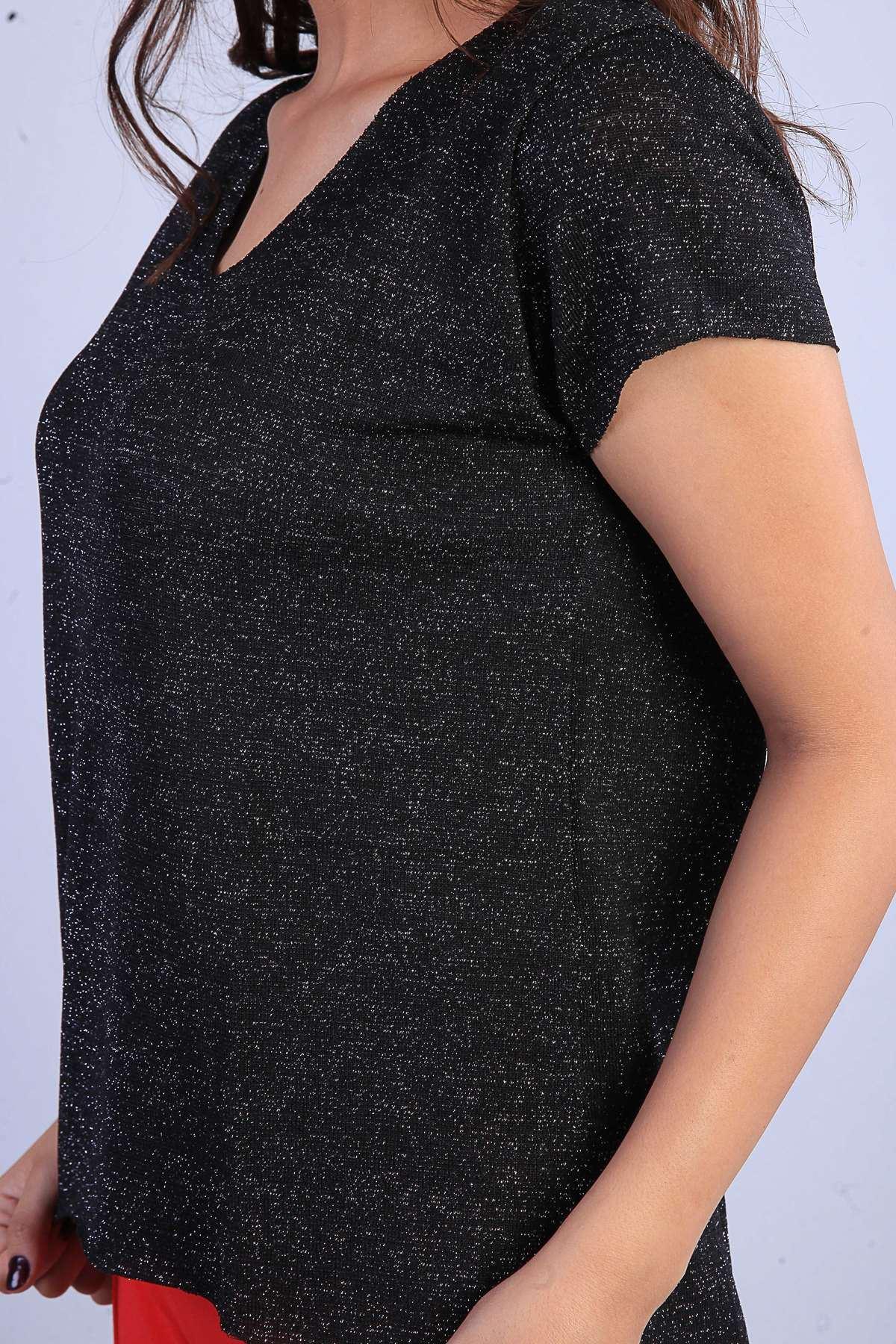 Sim Detaylı Yaka Kol Dikişsiz V Yaka Kısa Kol Bluz Siyah