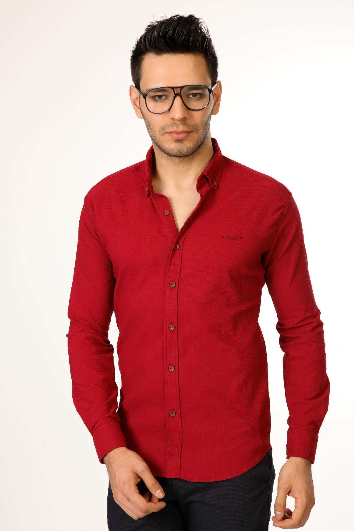 Slim Fit Gofre Kumaş Likralı Gömlek Bordo