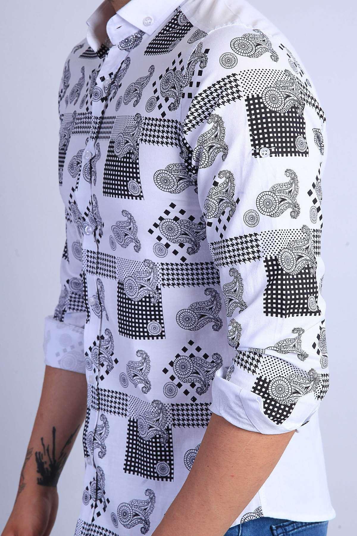 Şal Desen Baskılı Klasik Yaka Slim Fit Gömlek Beyaz