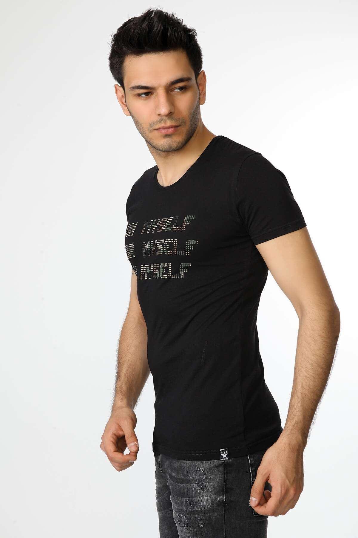 Taşlı Slim Fit Tişört Siyah