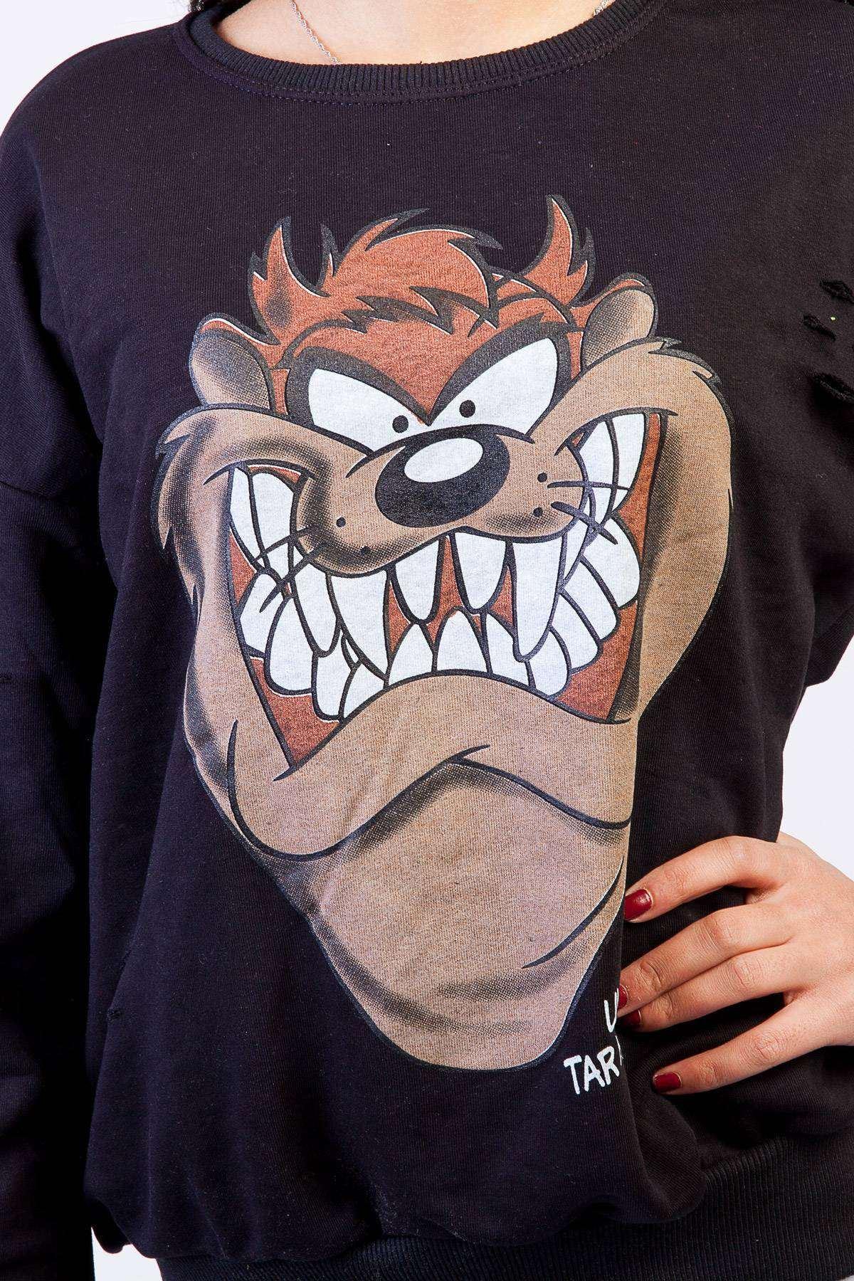 Tazmania Canavarı Baskı Detaylı Simit Yaka Sweatshirt Siyah