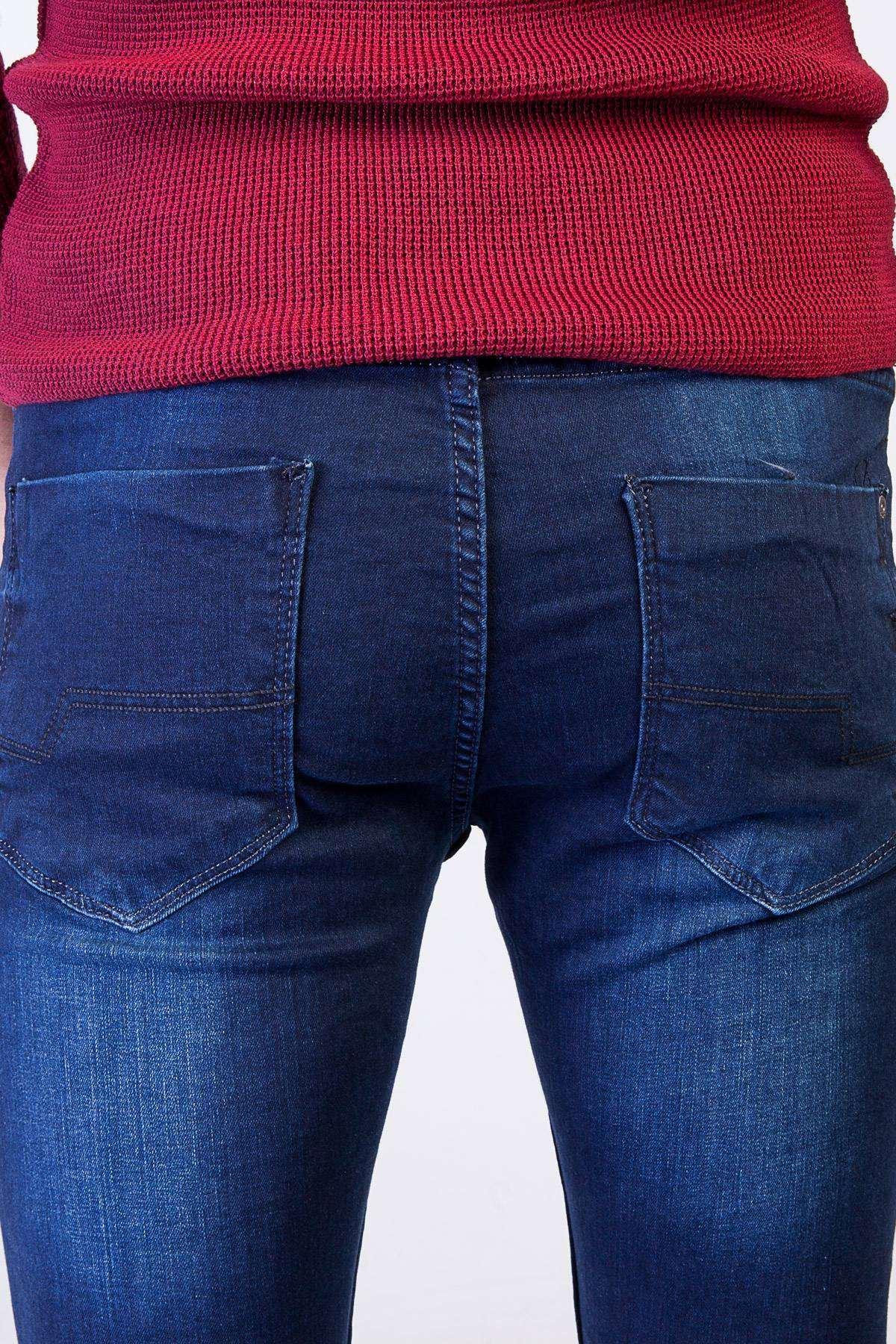 Taşlama Bilek Kot Pantolon Lacivert