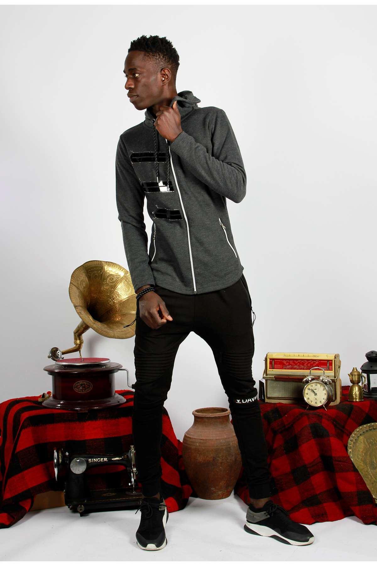 Taşlı Model Cepleri Fermuarlı Kapşonlu Sweatshirt Antrasit