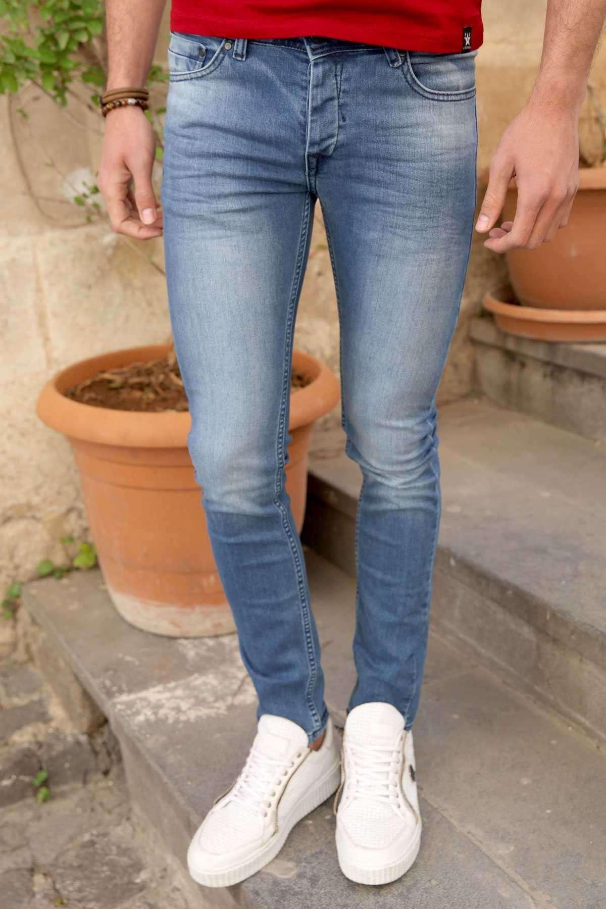 Taşlamalı Klinkırlı Slim Fit Kot Pantolon Mavi