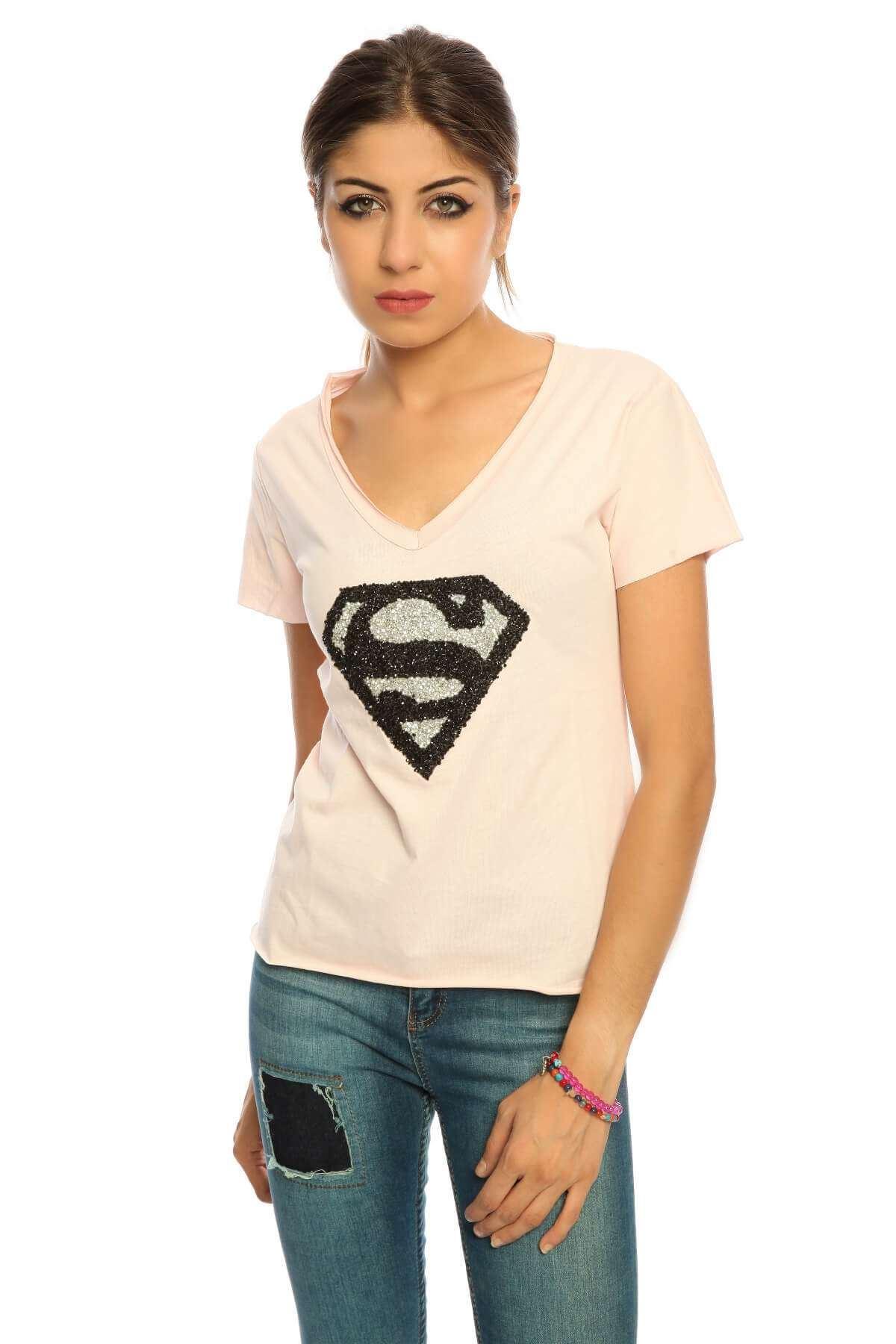 Taşlı Süperman Derin V Yaka Tişört Pudra