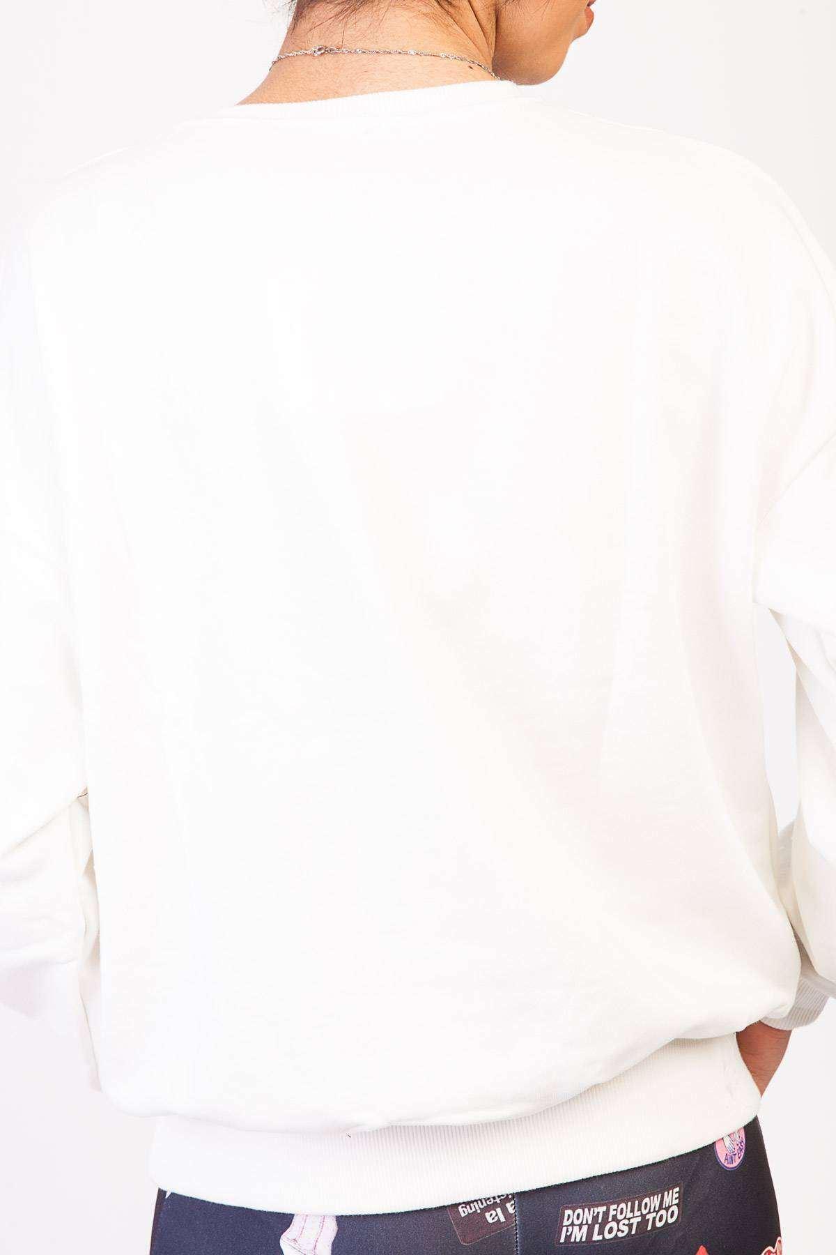Tazmania Canavarı Baskı Detaylı Simit Yaka Sweatshirt Ekru