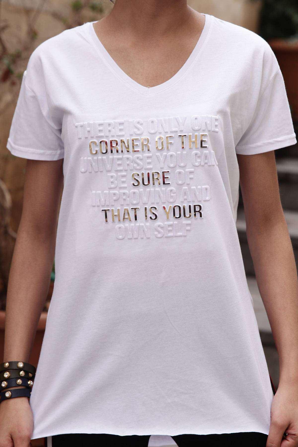 That İs Your Kabartma Yazı Baskı Detaylı Kısa Kol Tunik Beyaz