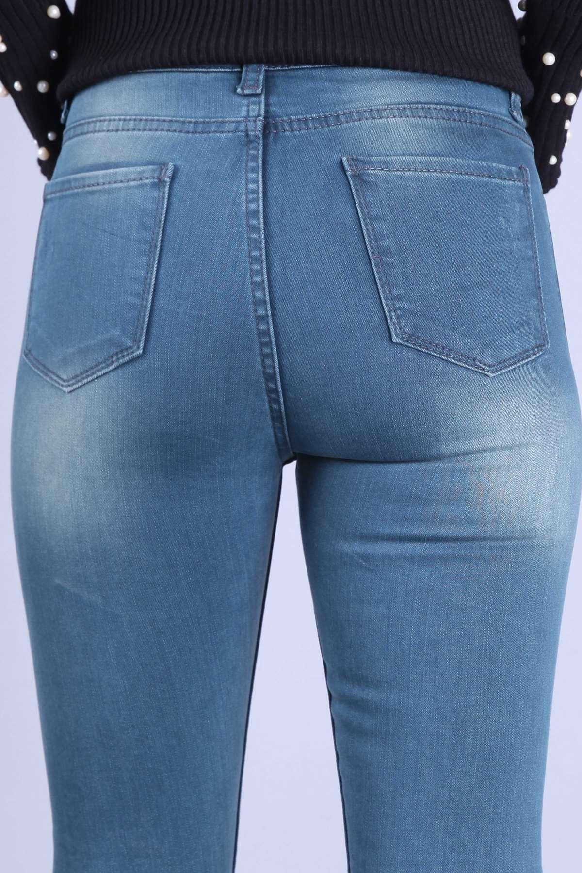 Taşlamalı Lazer Tırtıklı Dar Paça Likralı Kot Pantolon Açık-Yeşil