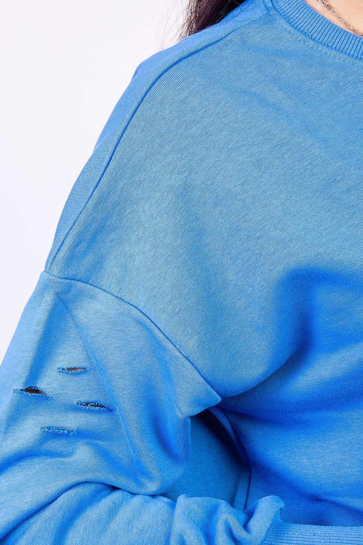 Tazmania Canavarı Baskı Detaylı Simit Yaka Sweatshirt Mavi