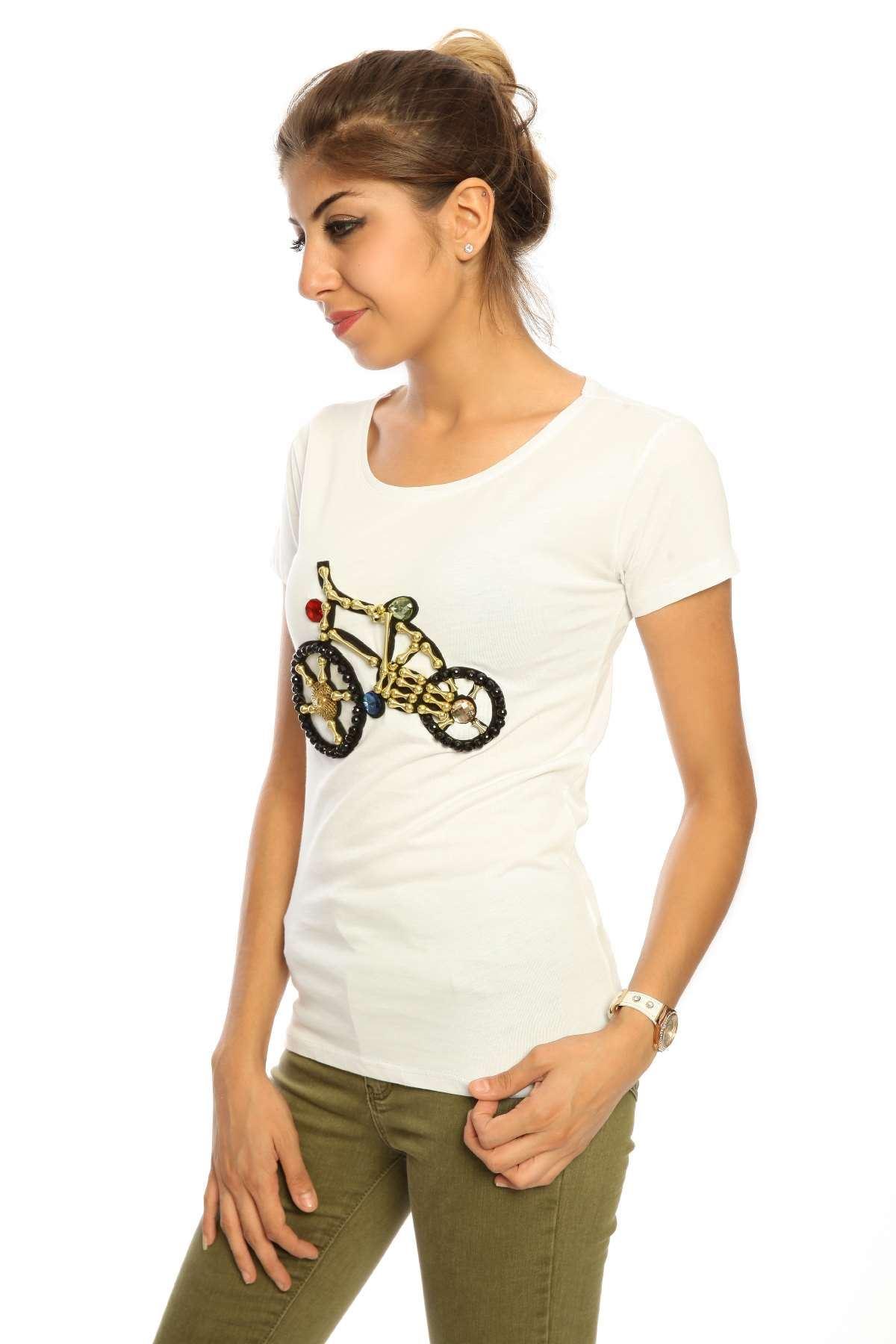 Taşlı Bisiklet Baskılı Kısa Kol Tişört Beyaz