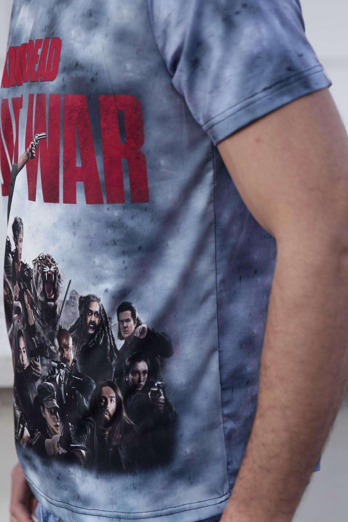 The Walking Dead Baskılı  Unisex Tişört Mavi