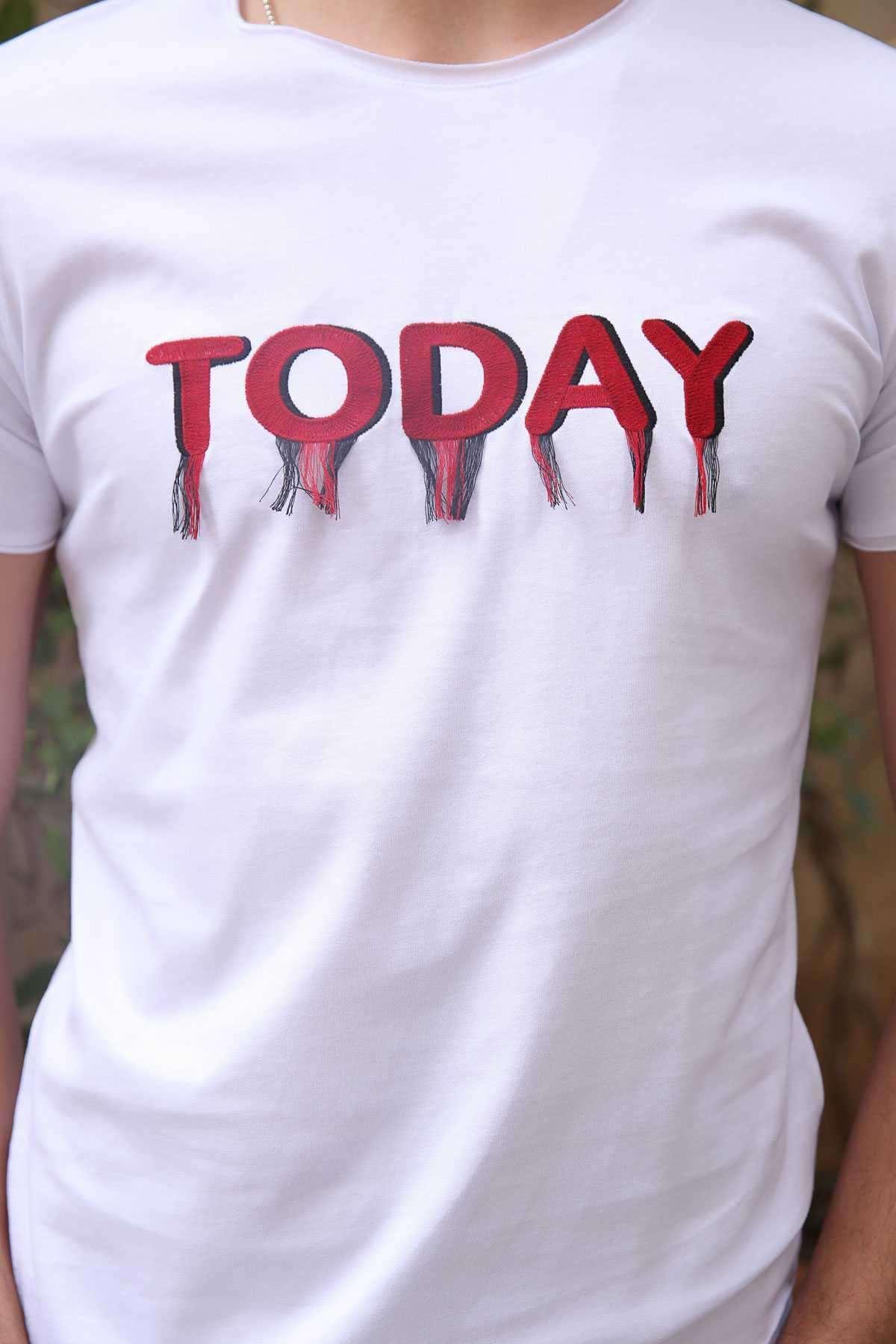 Today Yazılı Püsküllü Sıfır Yaka Tişört Beyaz