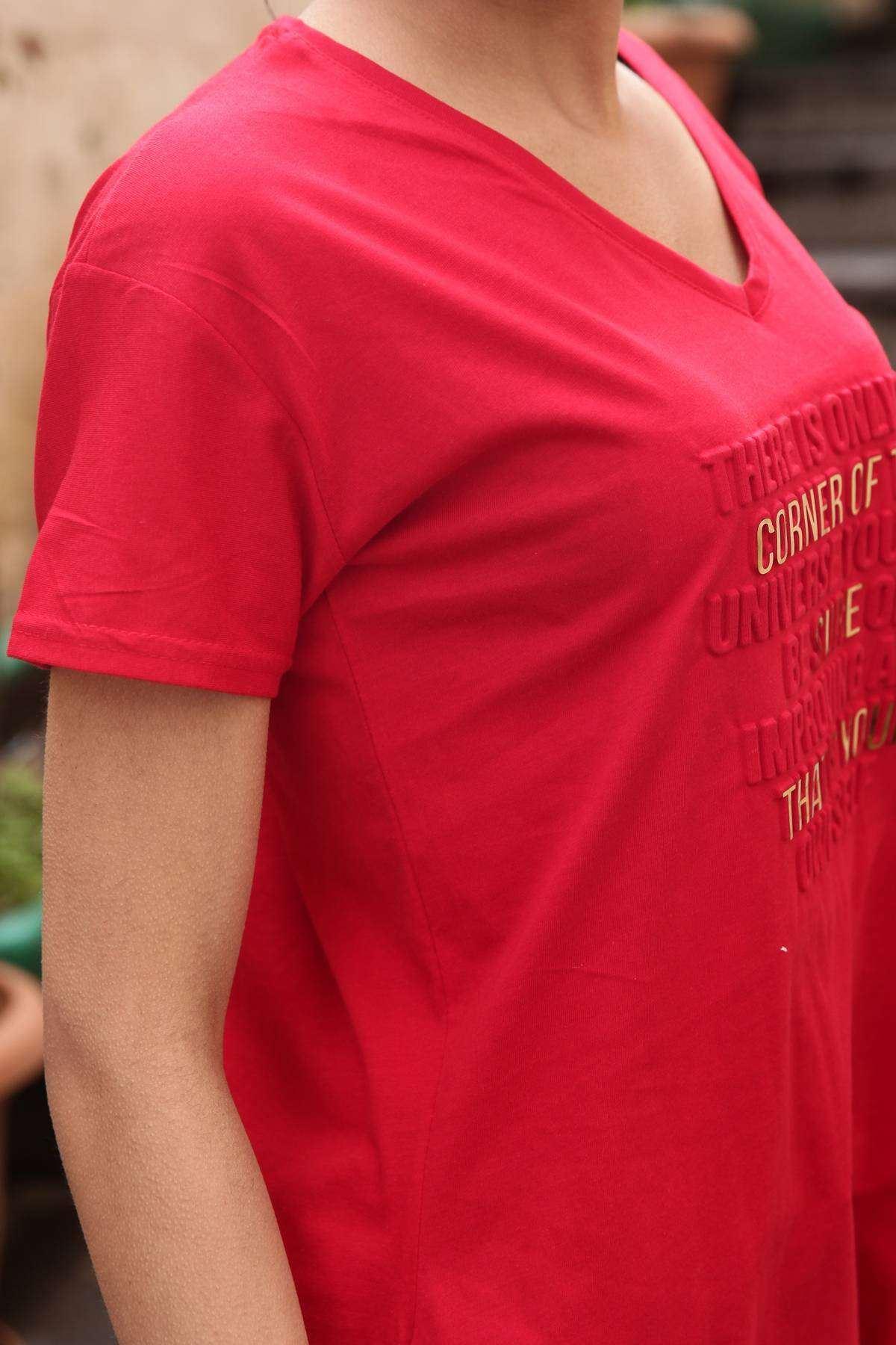That İs Your Kabartma Yazı Baskı Detaylı Kısa Kol Tunik Kırmızı