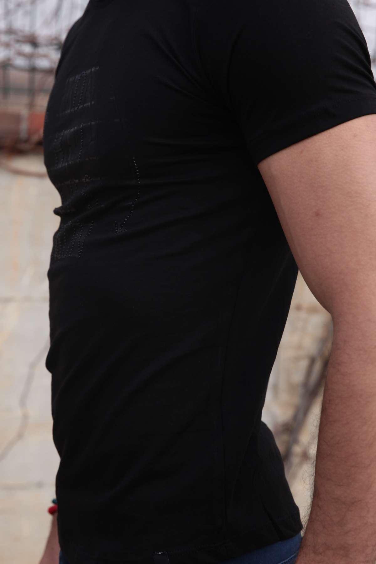 Taşlı Mon Yazı Baskılı Pis Yaka Slim Fit Tişört Siyah