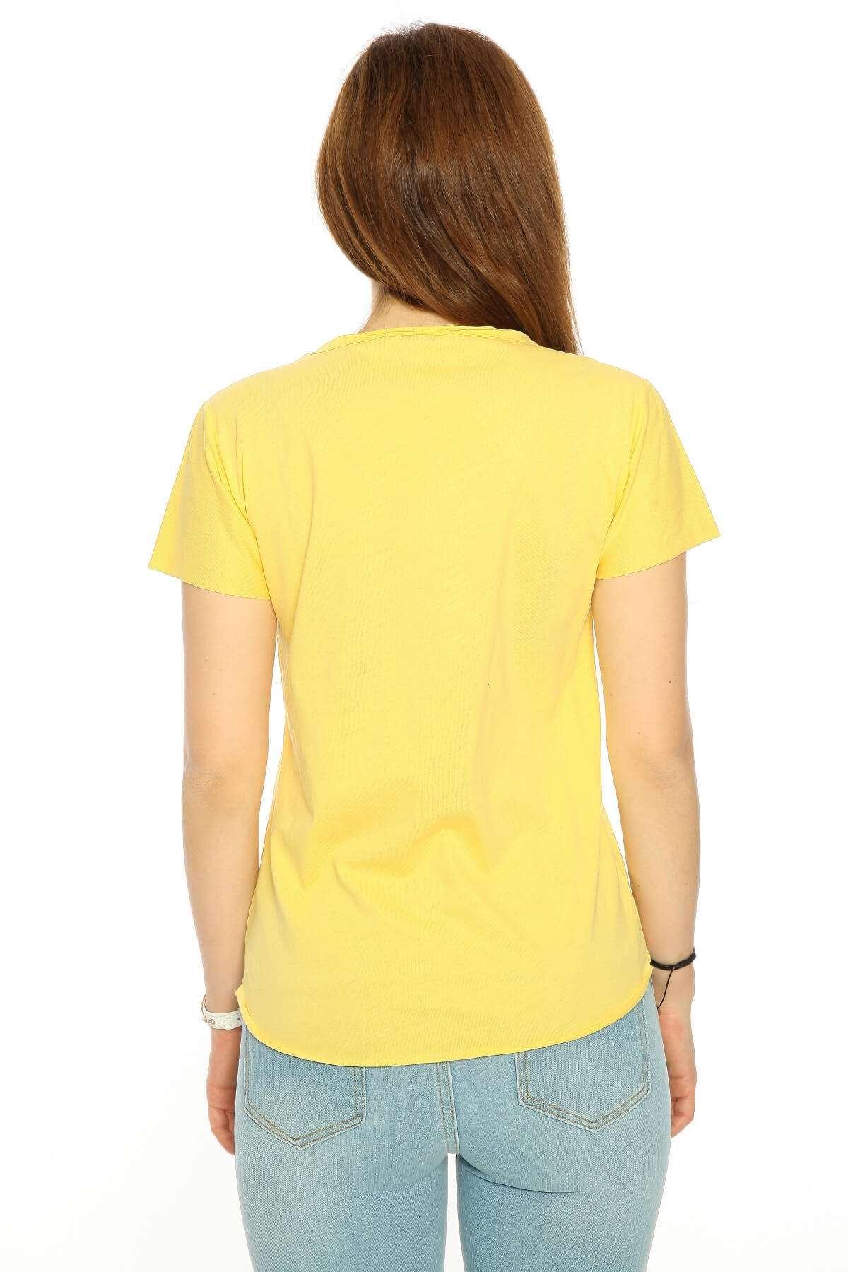 Taşlı Kartal Baskı V Yaka Tişört Sarı