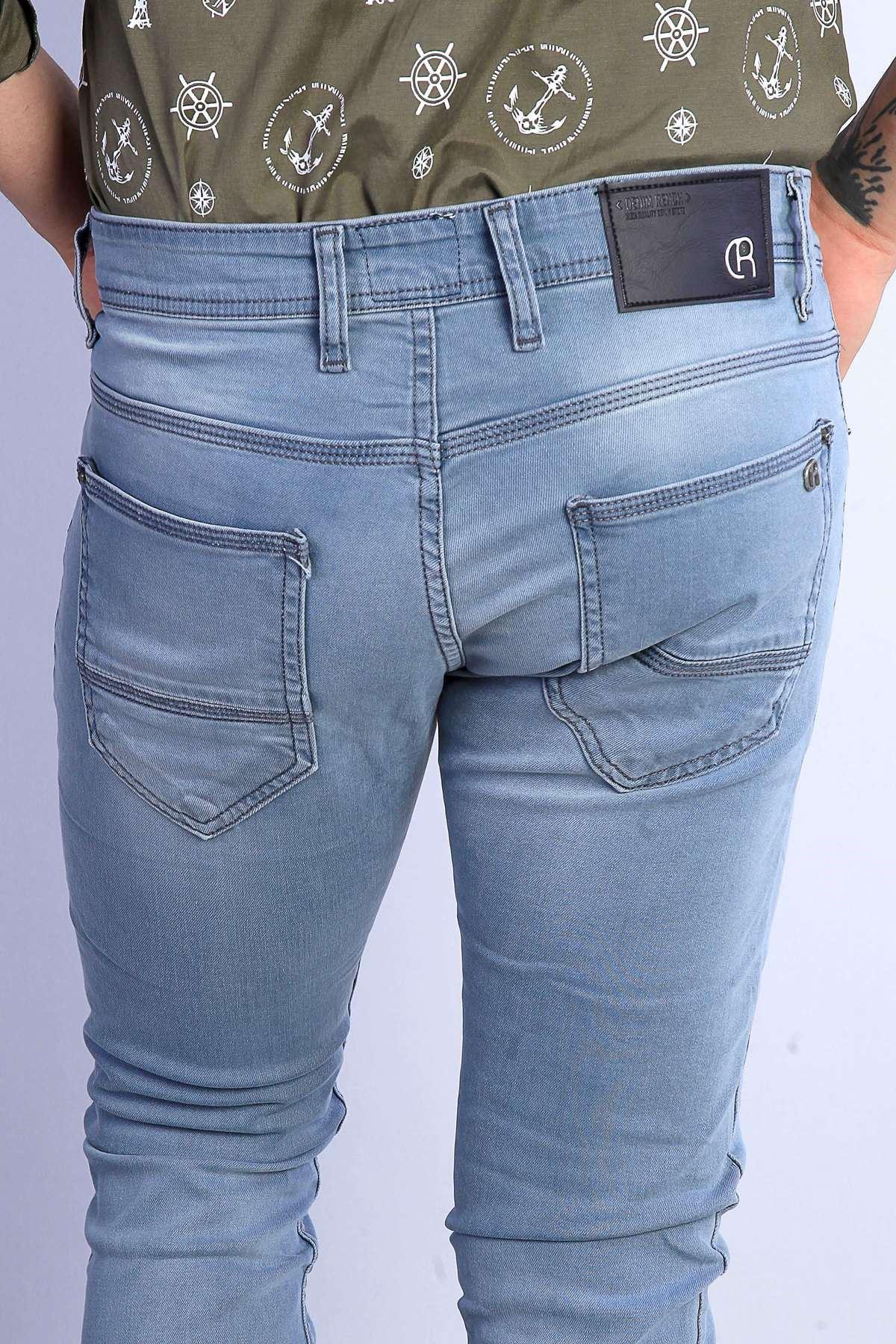Taşlamalı Lazer Tırtıklı Slim Fit Kot Pantolon Açık-Lacivert