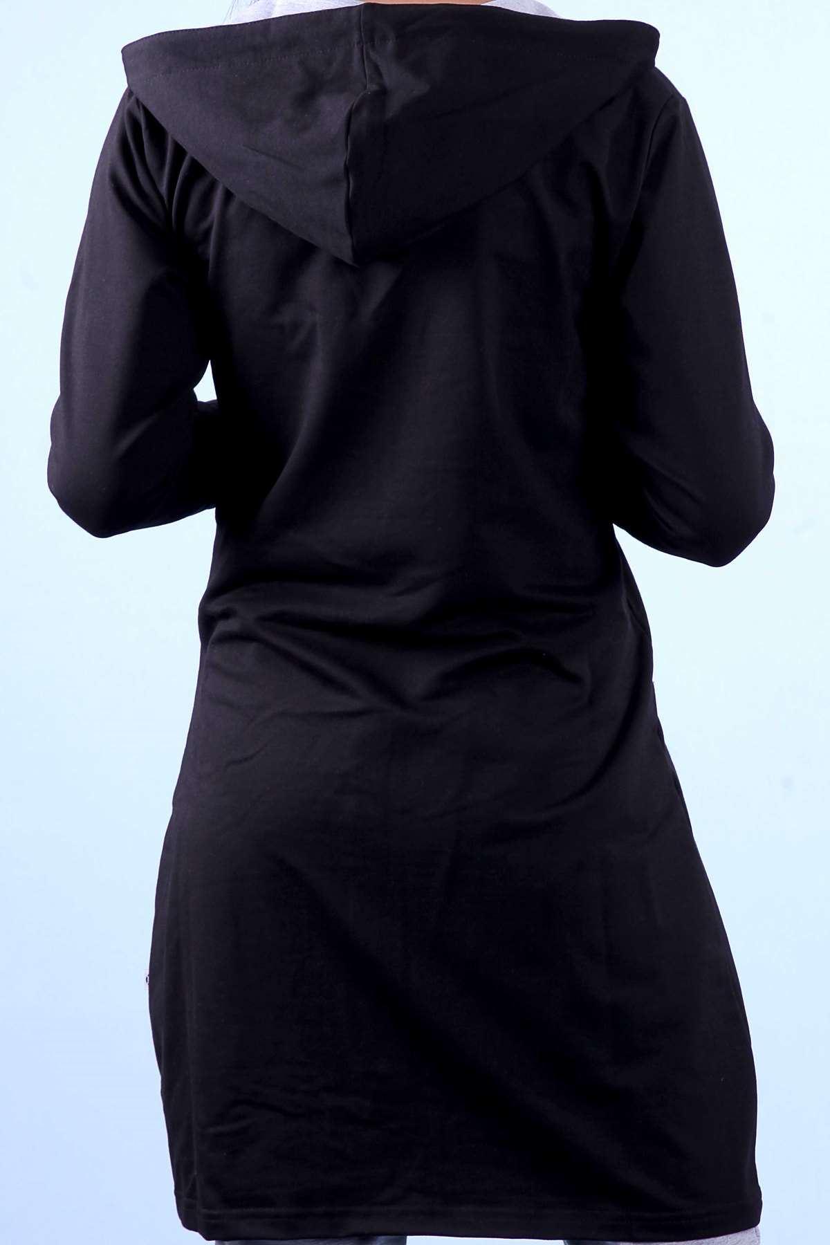 Tunik Kapşonlu Eşofman Takımı Siyah