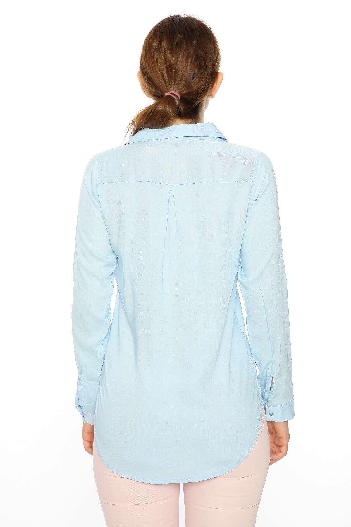 Uzun Kol Pullu Püskül Gömlek B.Mavı