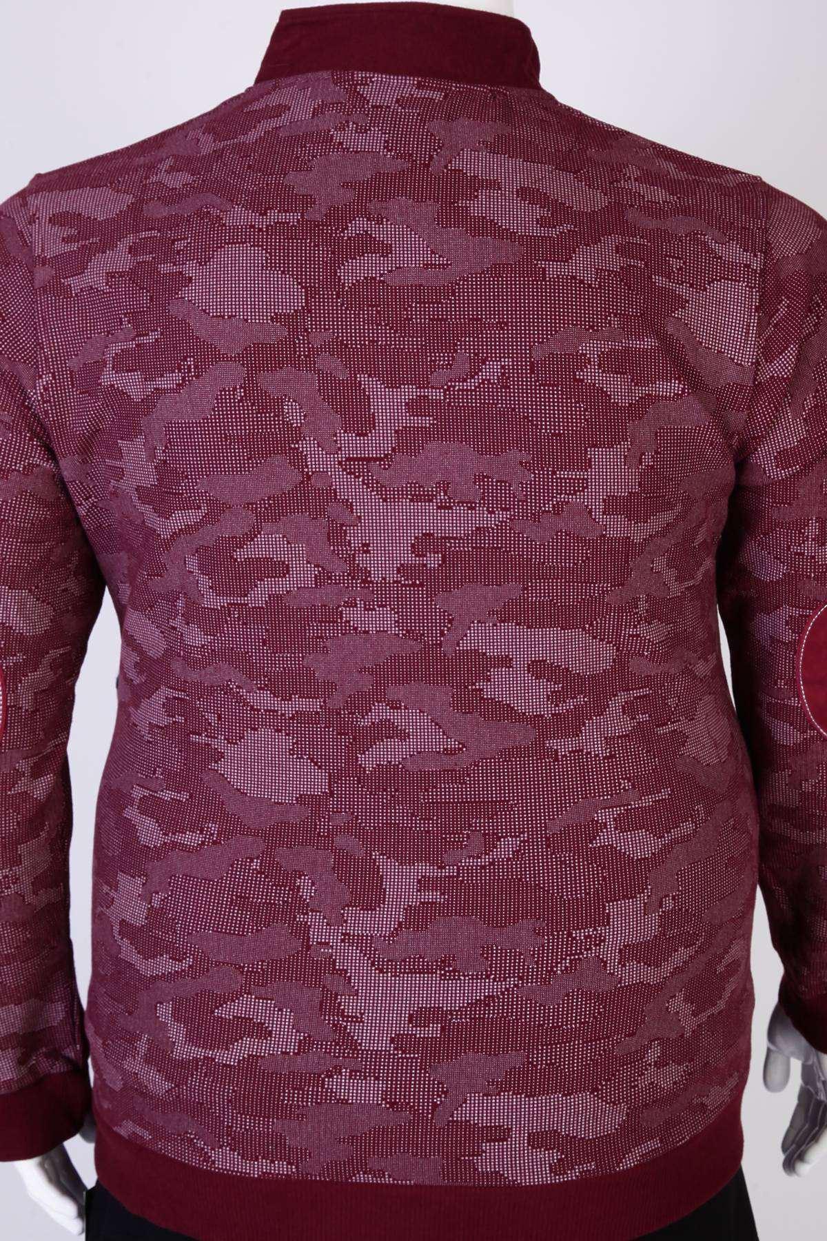 Üst Desenli Selanik Süper Battal Sweatshirt Bordo