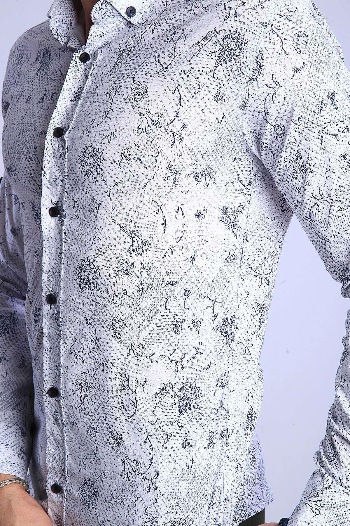 Üçgen Baskılı Çiçek Desenli Slim Fit Gömlek Beyaz