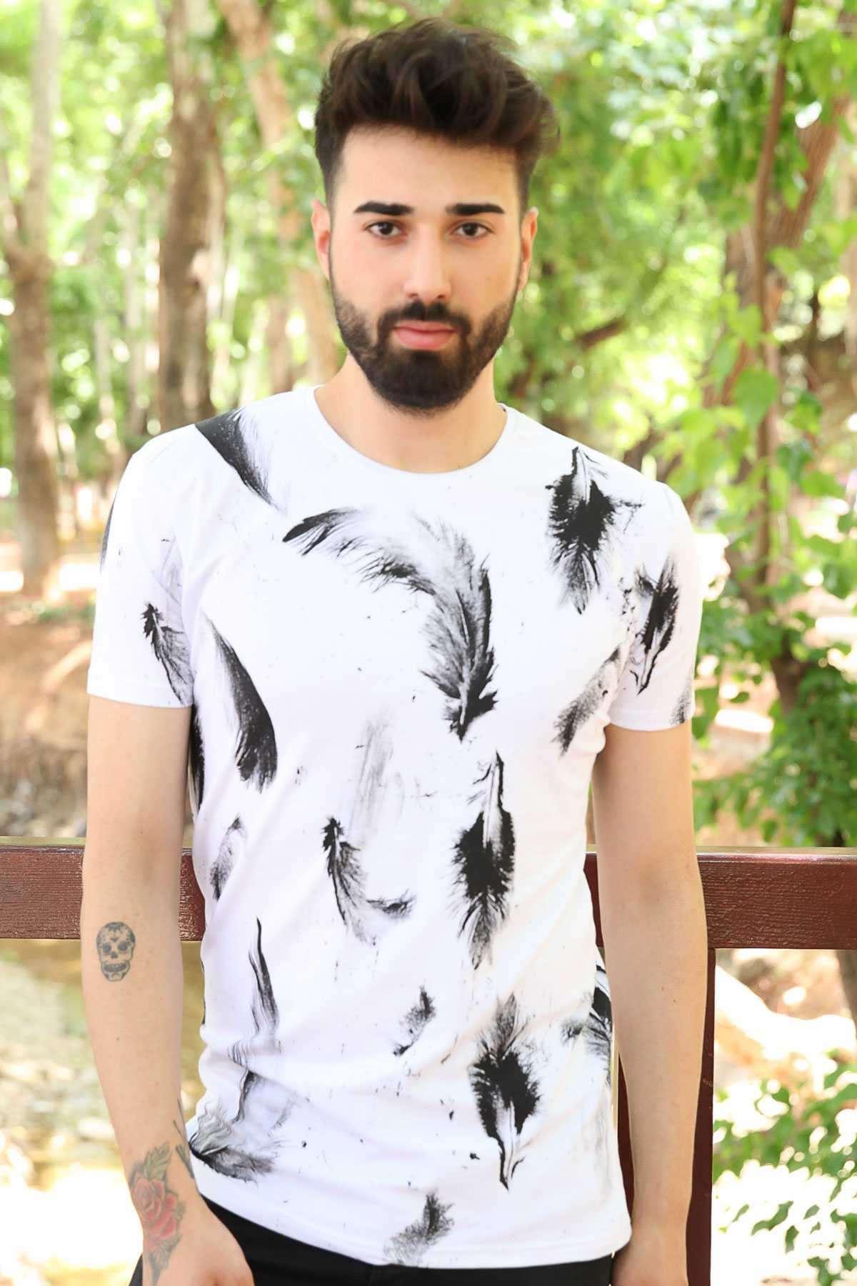 Tüy Baskılı Sıfır Yaka Slim Fit Tişört Beyaz