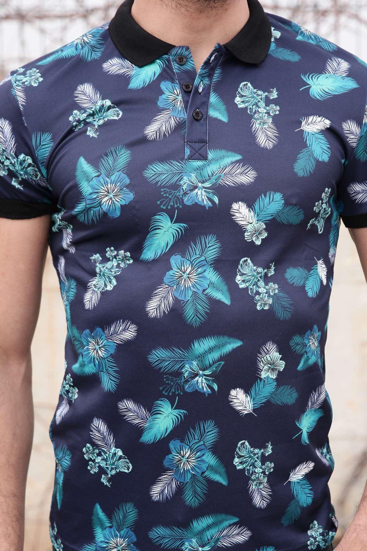 Tüy Ve Çiçek Baskılı Dijital Polo Yaka Tişört Lacivert