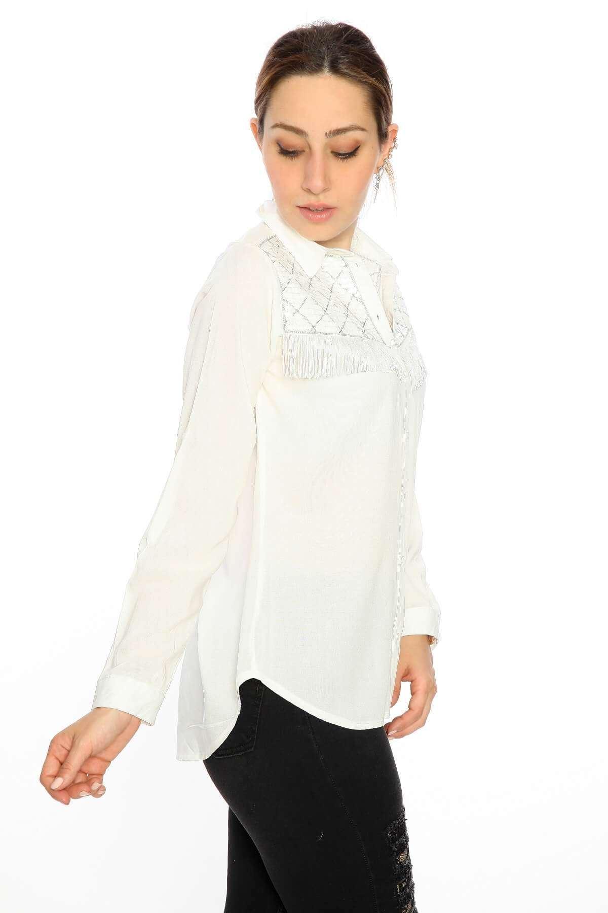 Uzun Kol Pullu Püskül Gömlek Beyaz