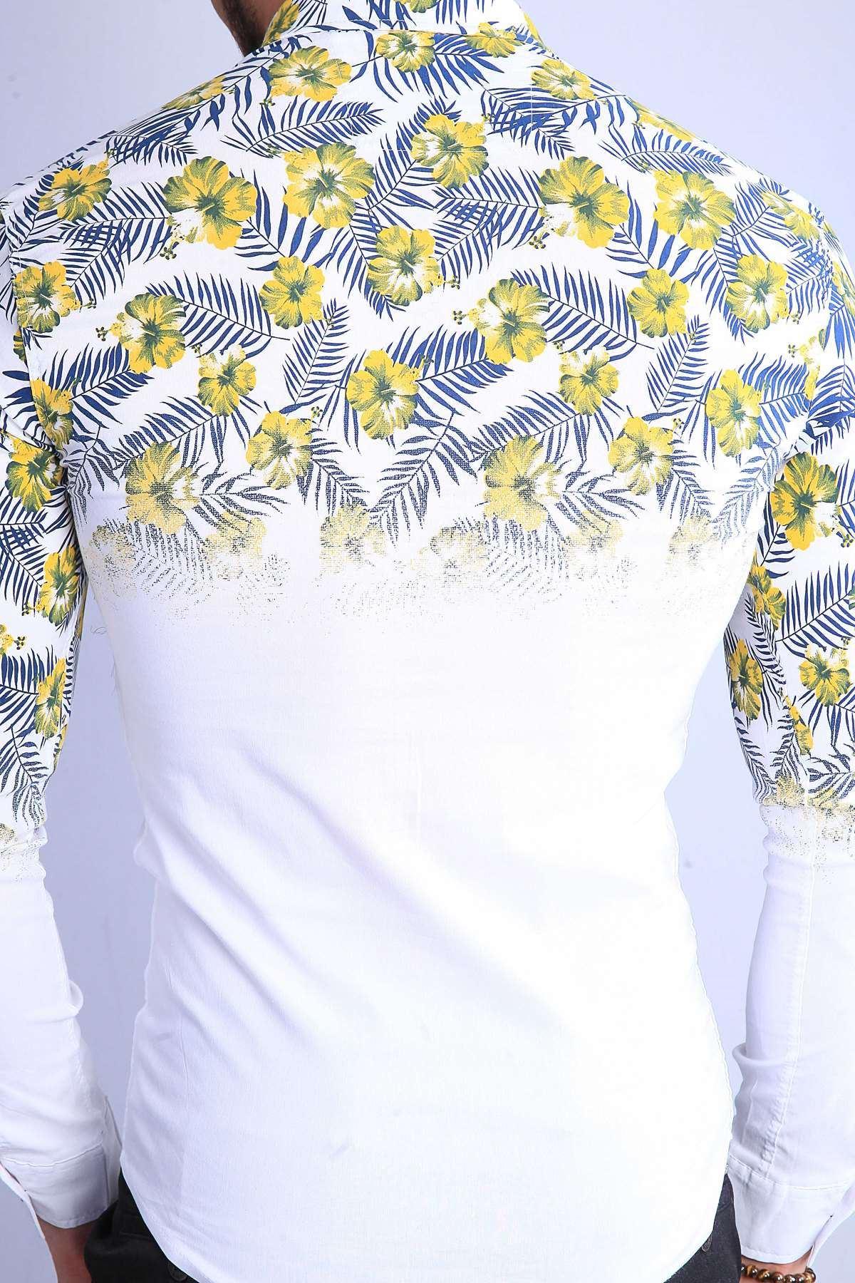 Üstü 5 Yaprak Çiçek Desenli Slim Fit Gömlek Beyaz-Sarı
