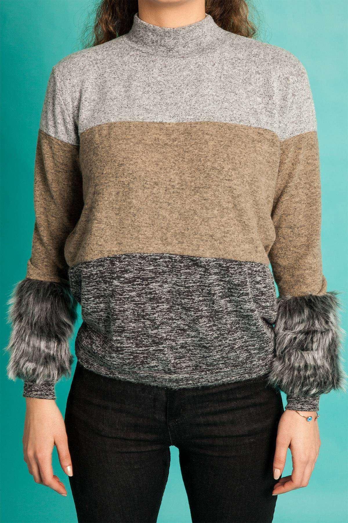 Üç Renkli Kol Ucu Peluş Detaylı Sweatshirt Gri-Kahve