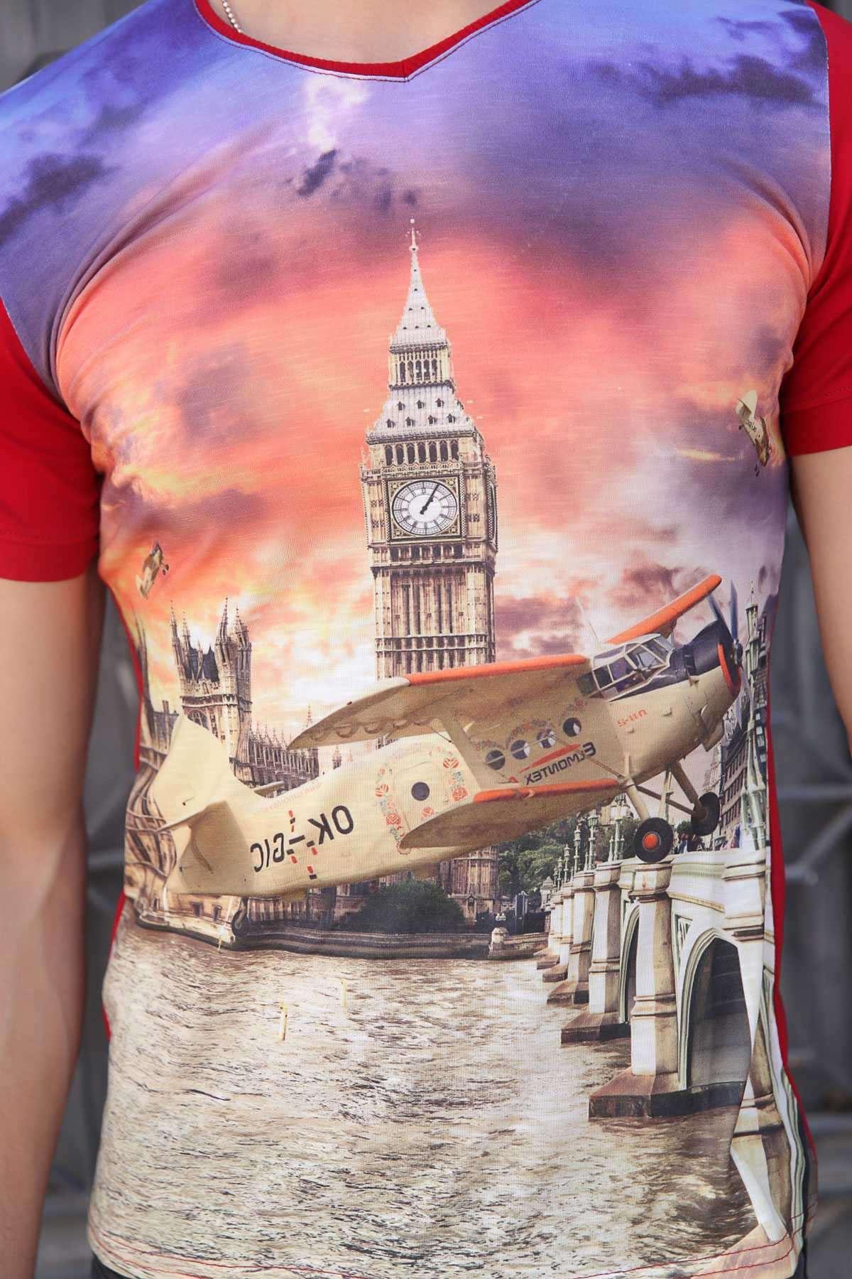 Uçak Baskı V Yaka Dijital Tişört Bordo