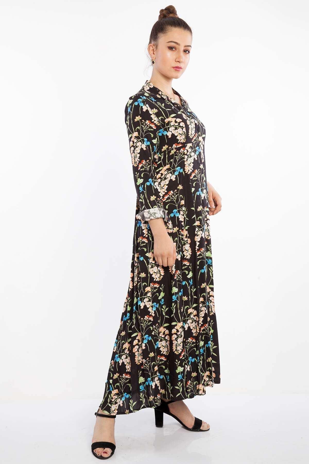 Uzun Kol Düğmeli Çiçek Desen Elbise Siyah