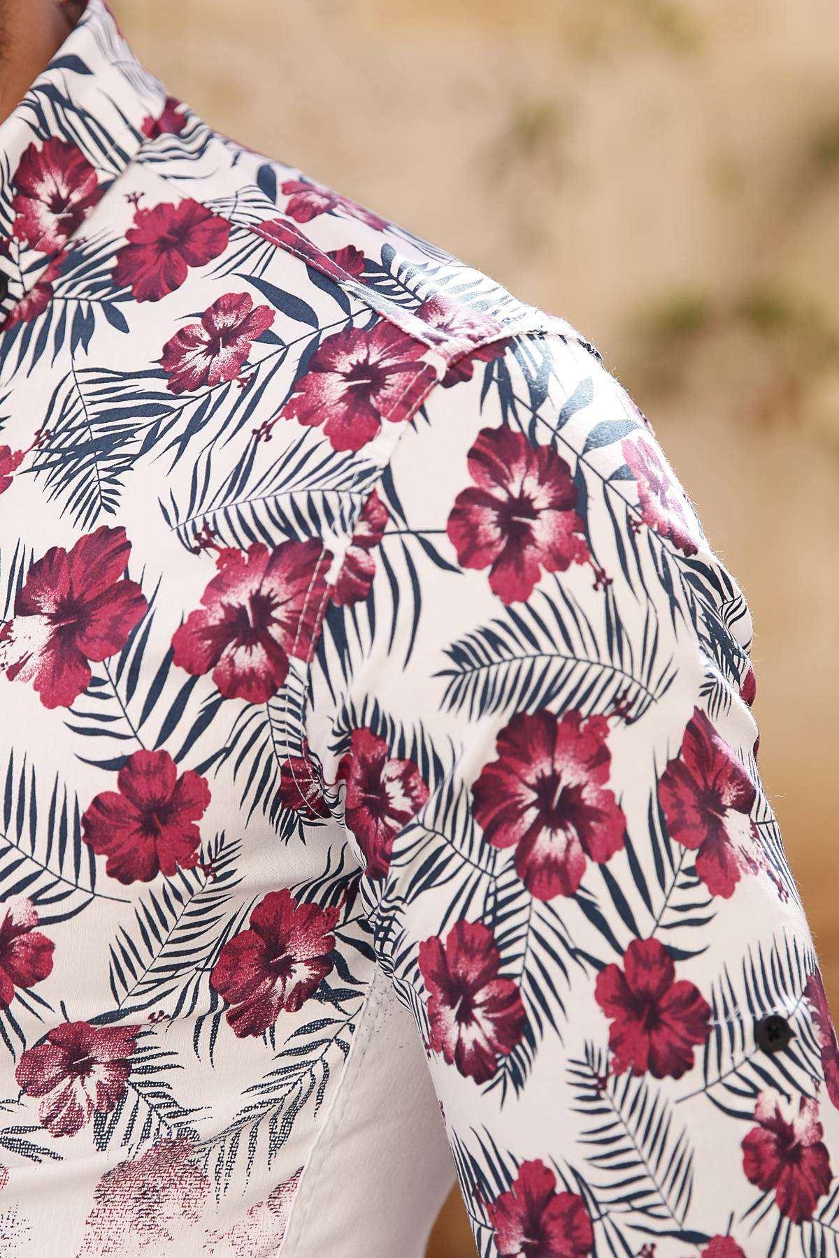 Üstü 5 Yaprak Çiçek Desenli Slim Fit Gömlek Beyaz-Bordo